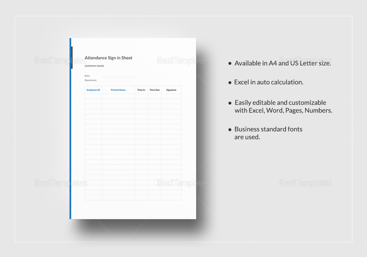 Fully Editable Attendance Sign in Sheet Template