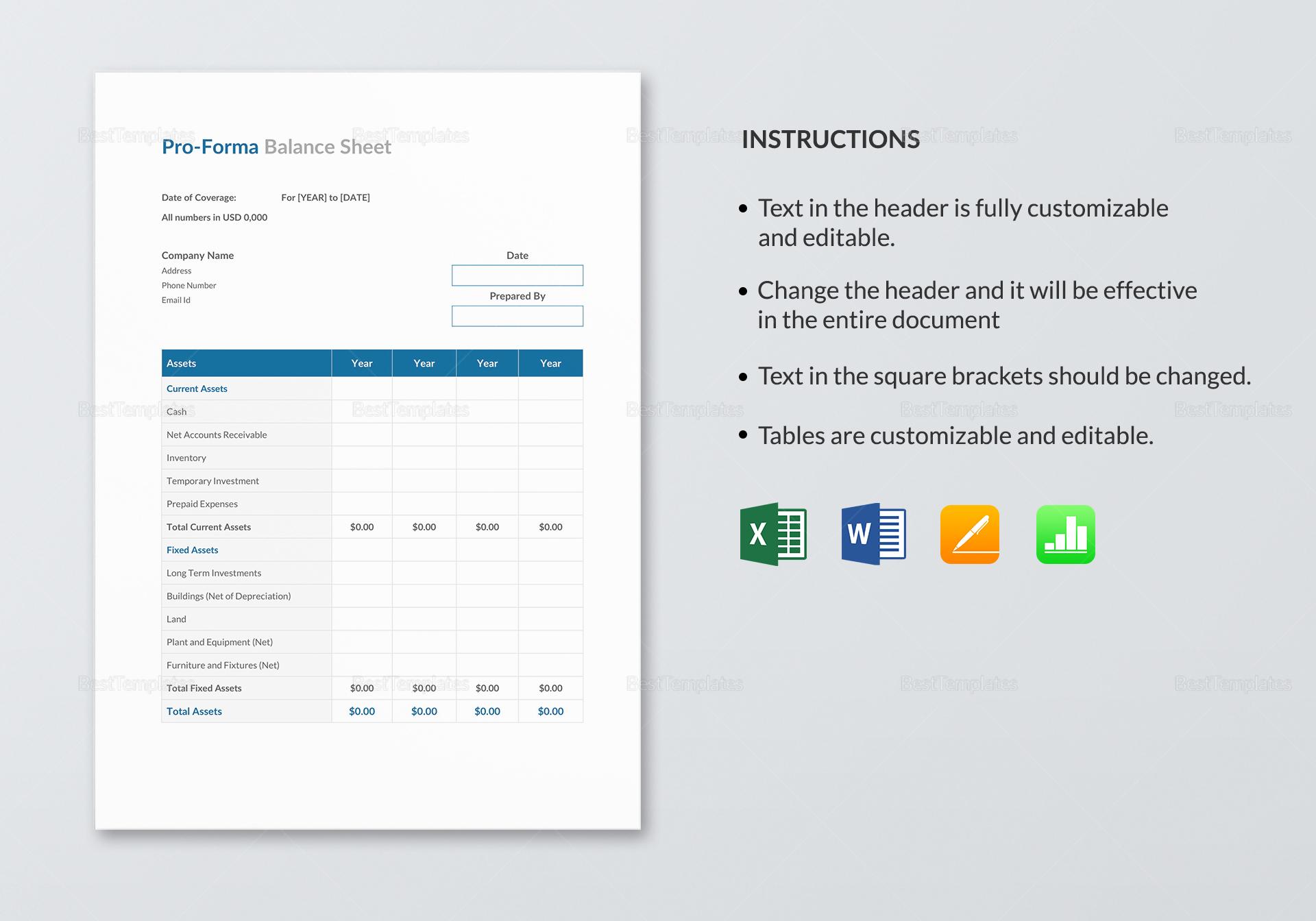 Simple Proforma Balance Sheet Template