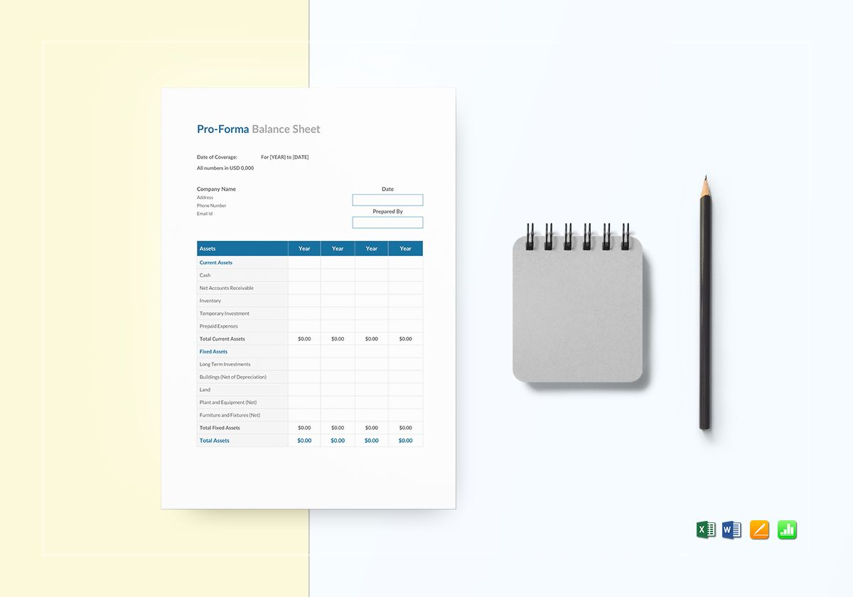 proforma balance sheet template in word excel apple pages numbers