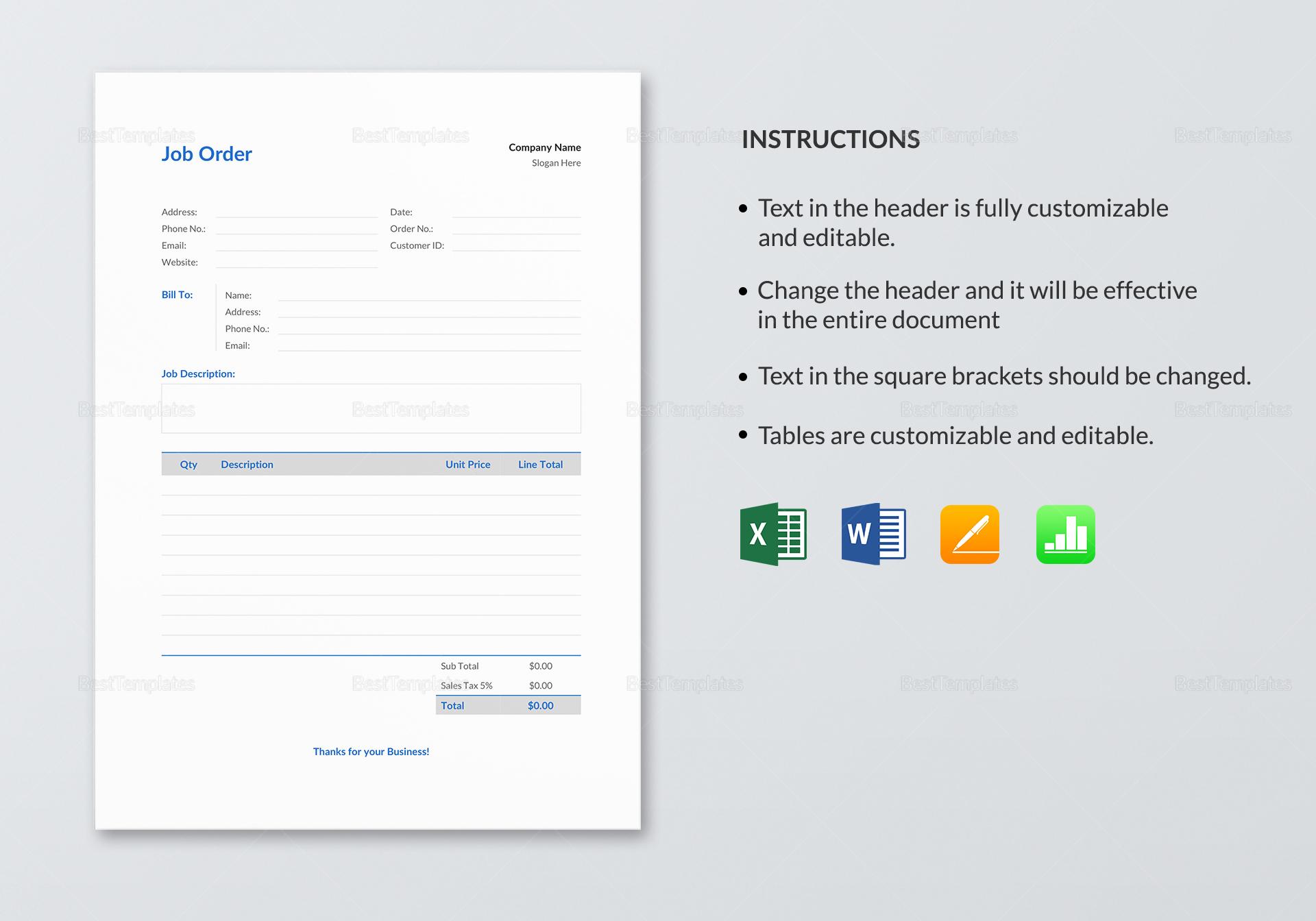 Editable Job Order Template