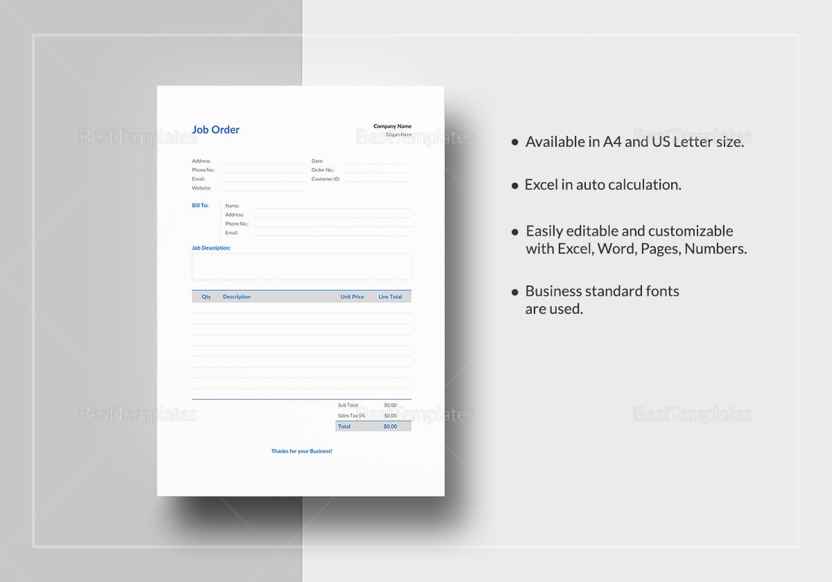 Printable Job Order Template