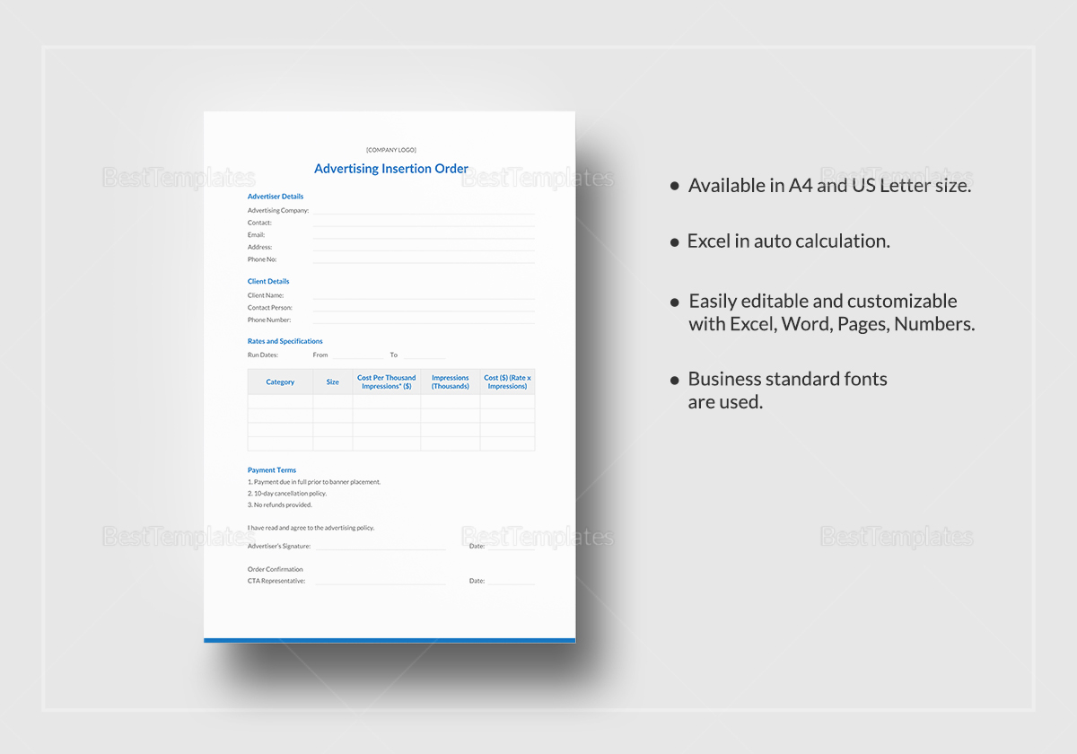 Advertising Insertion Order Template to Print