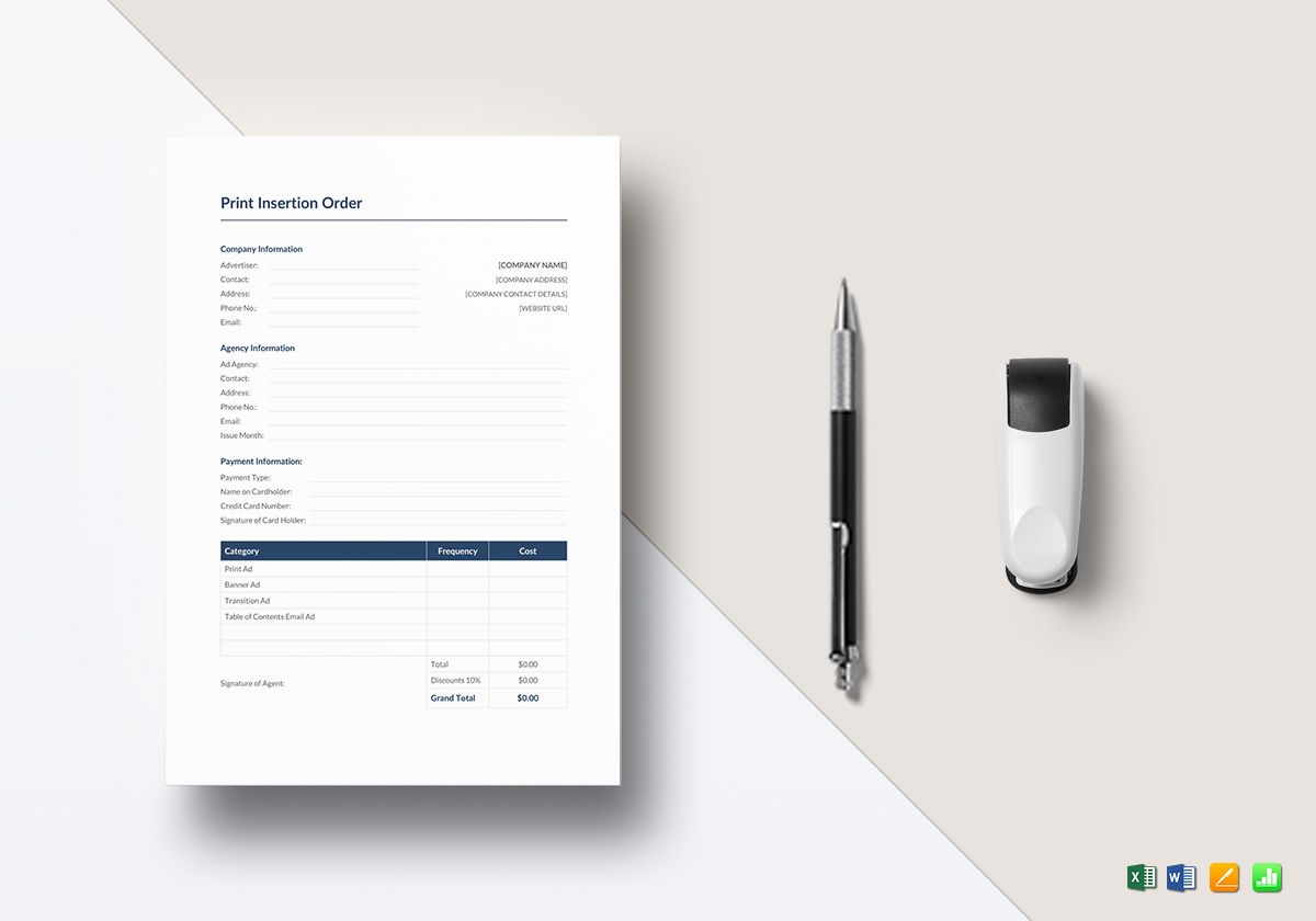 Print Insertion Order Template