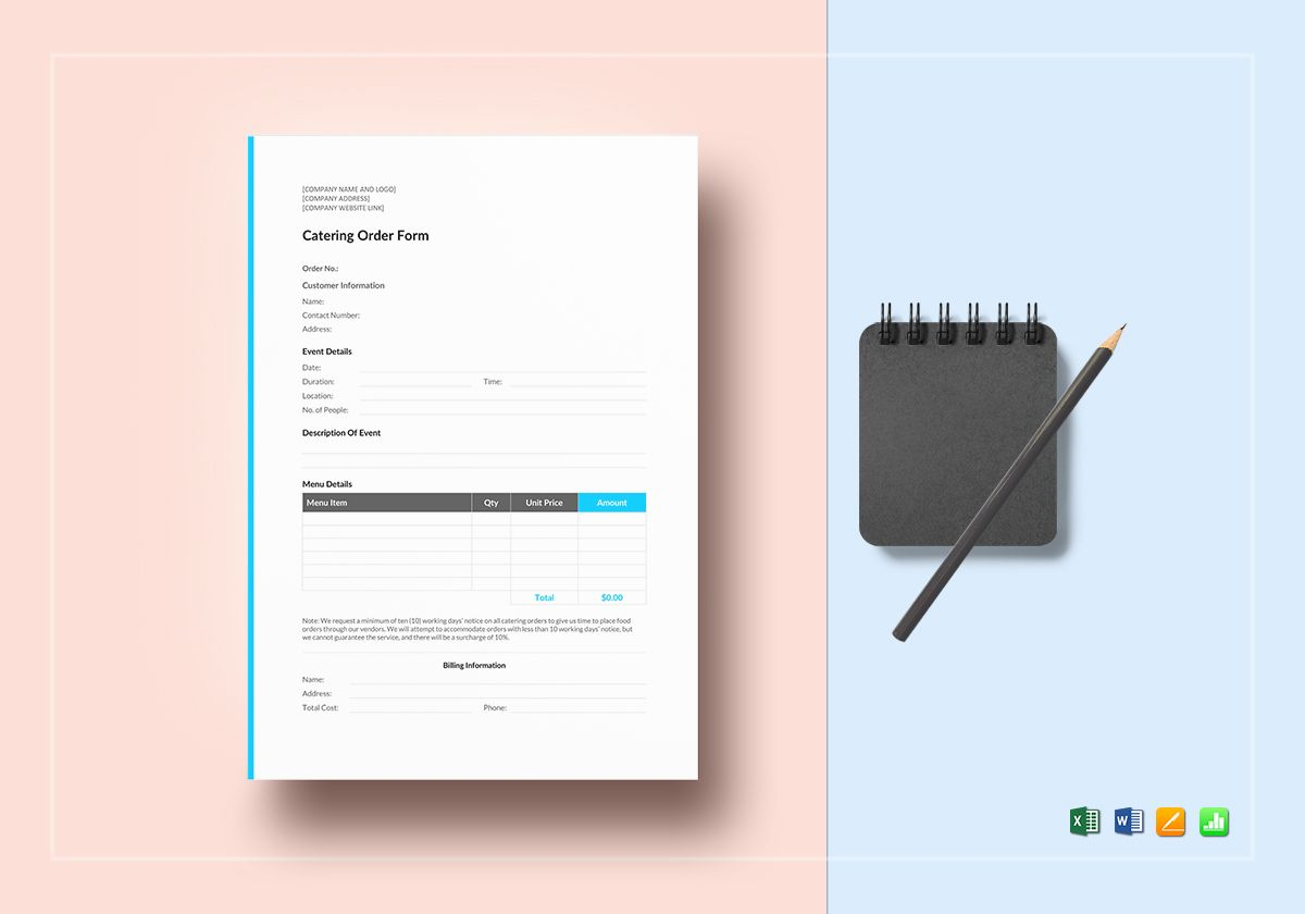 Catering Order Template