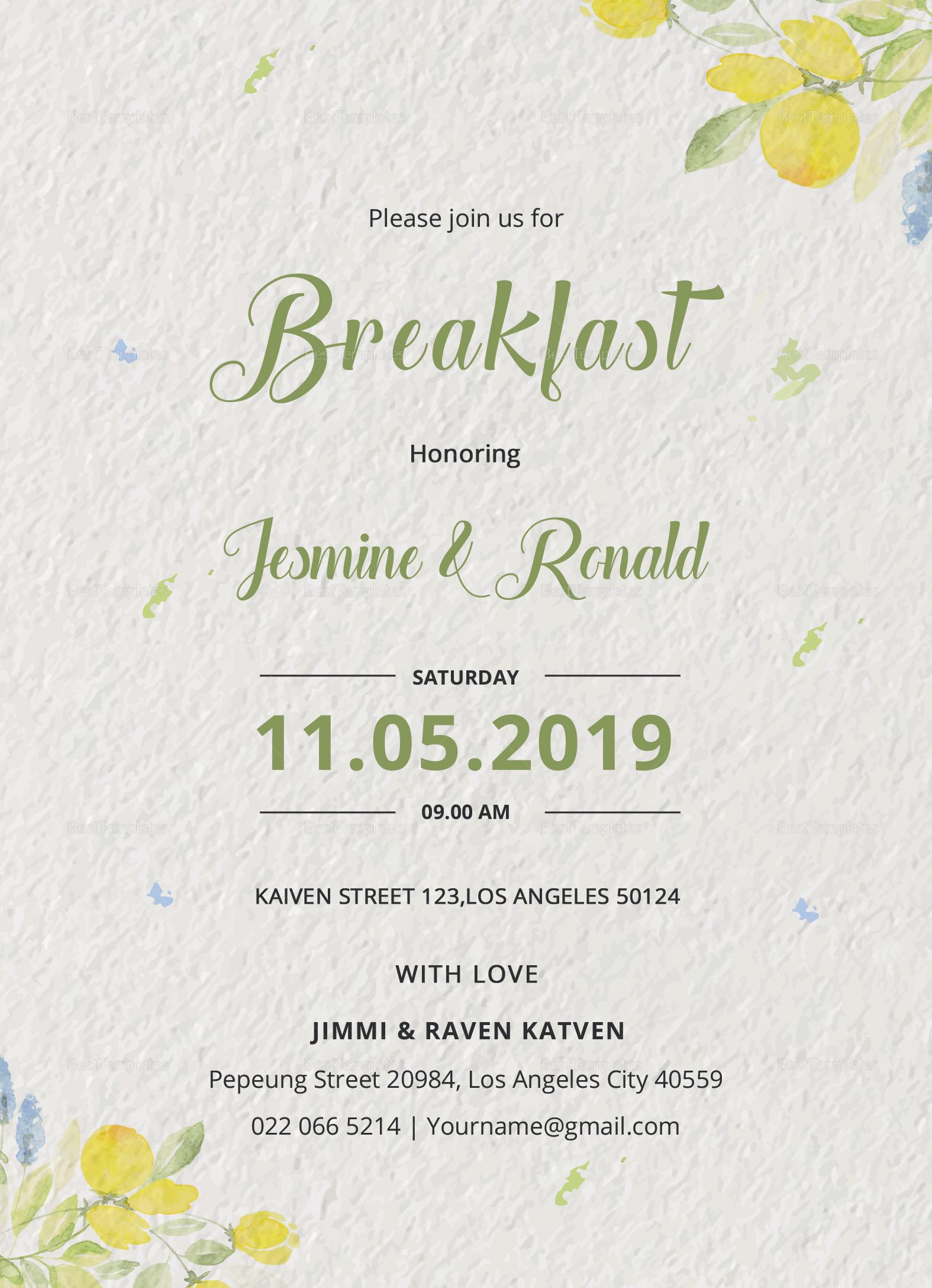 Breakfast Invitation Design Template