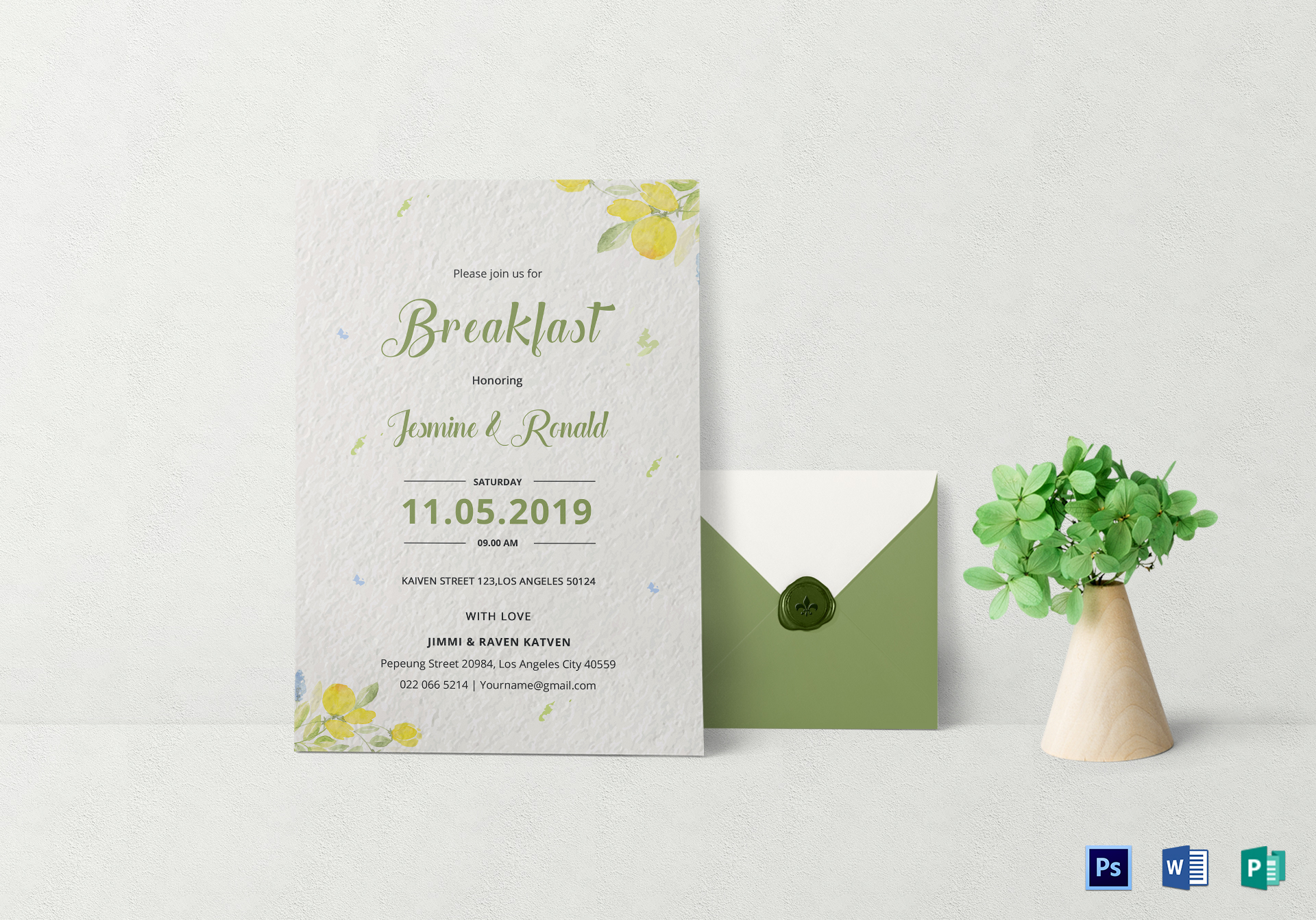 breakfast invitation design template in word psd publisher