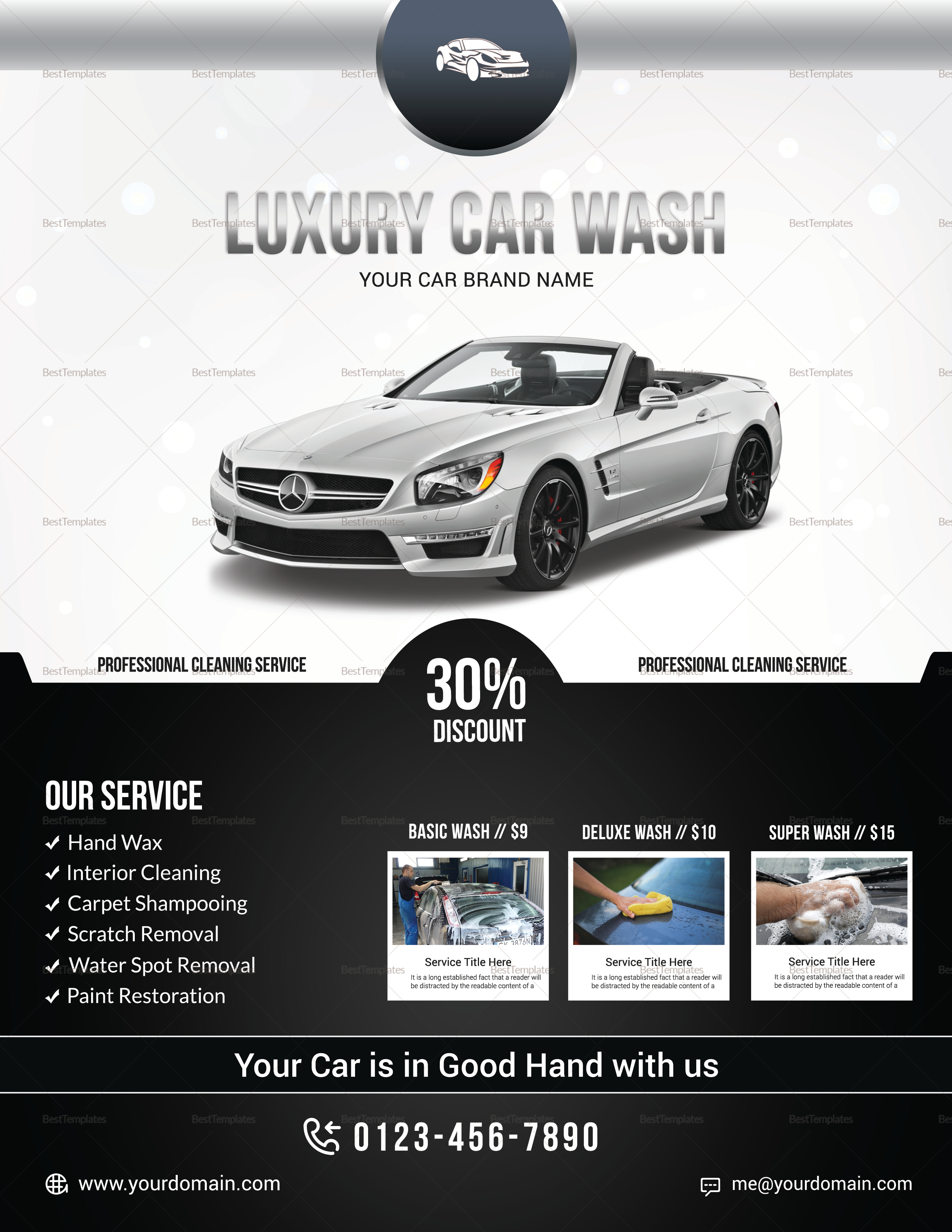 Luxury Car Wash Flyer Design Template in PSD, Word, Publisher