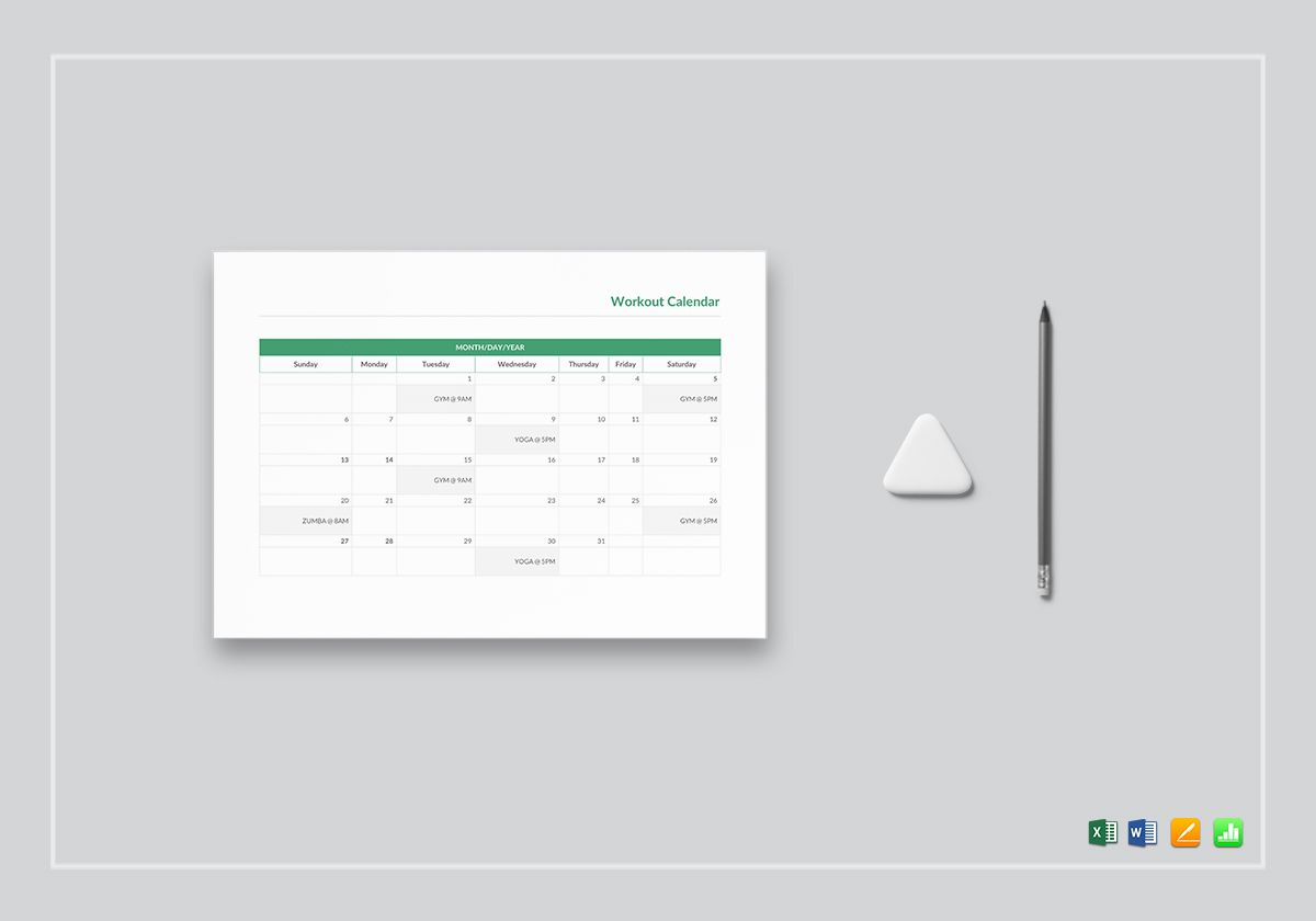 Workout Calendar Template In Word Excel Apple Pages Numbers