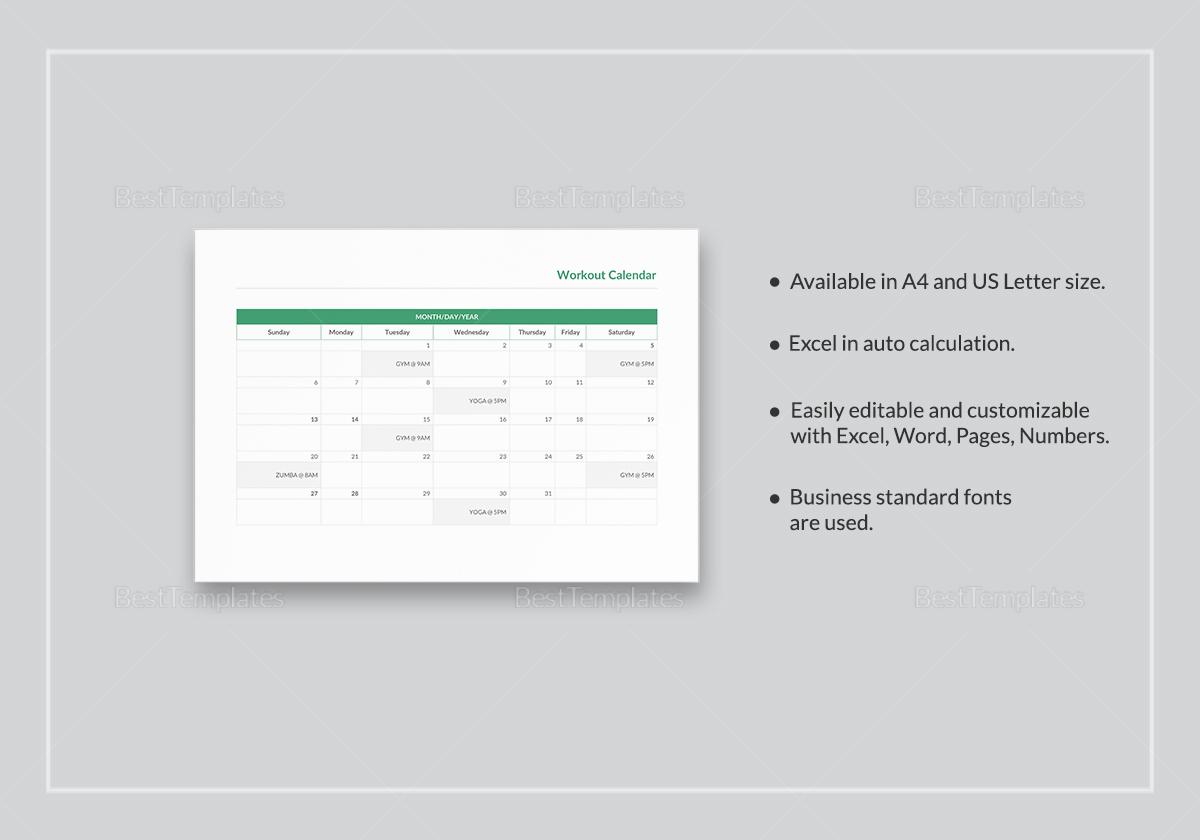 Workout Calendar Template to Edit