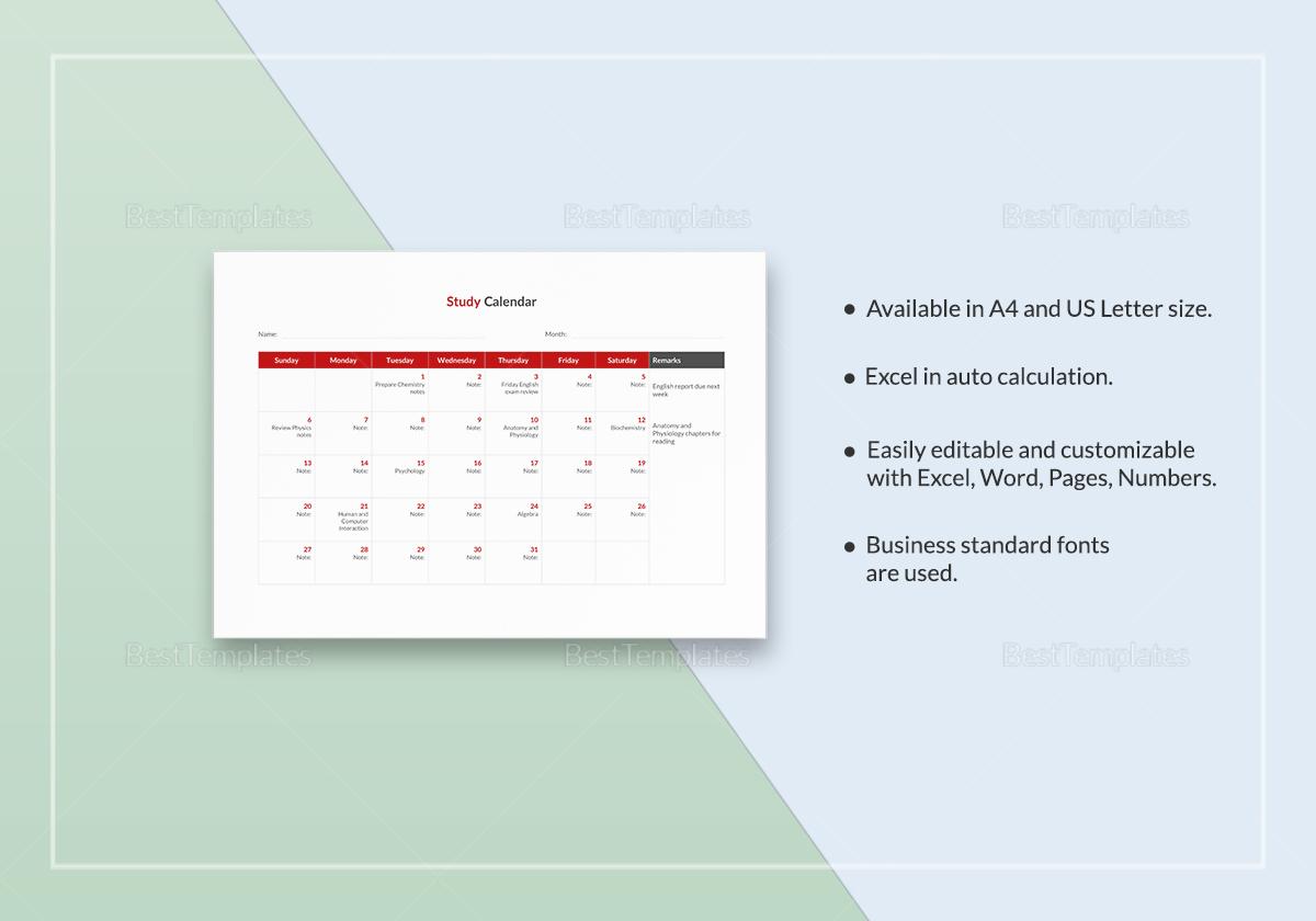Study Calendar Template to Print