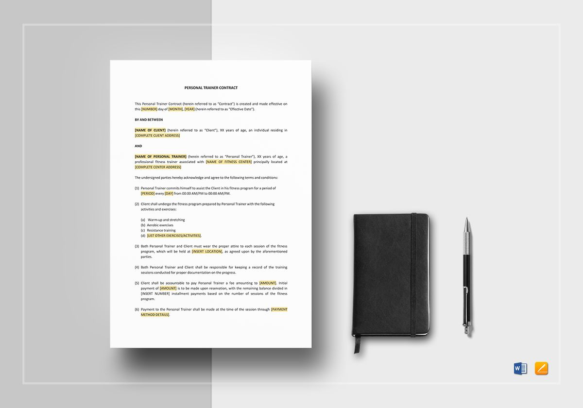 Personal Trainer Contract Template In Word Apple Pages