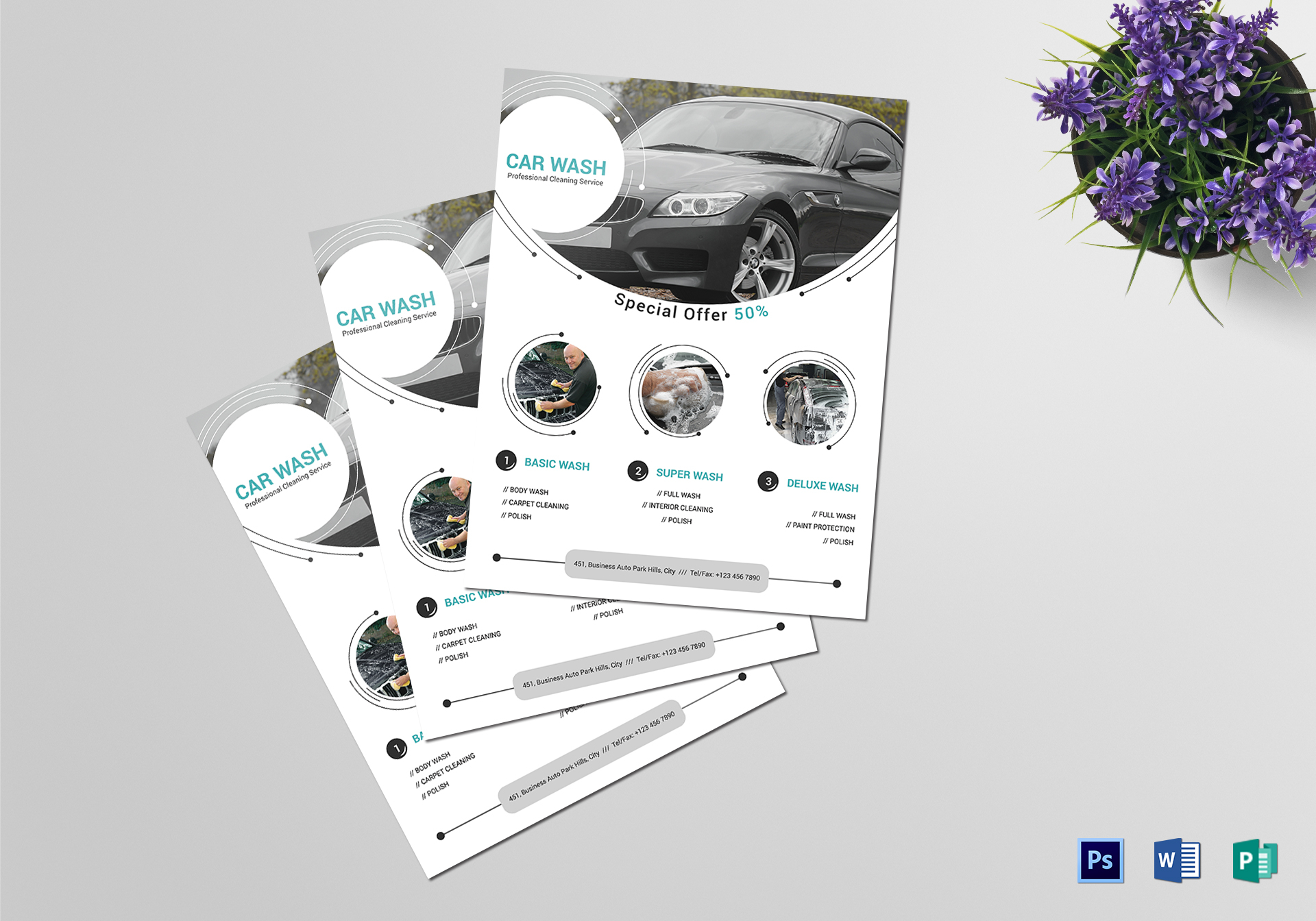 Car Washing Service Flyer Design Template in Word, PSD, Publisher