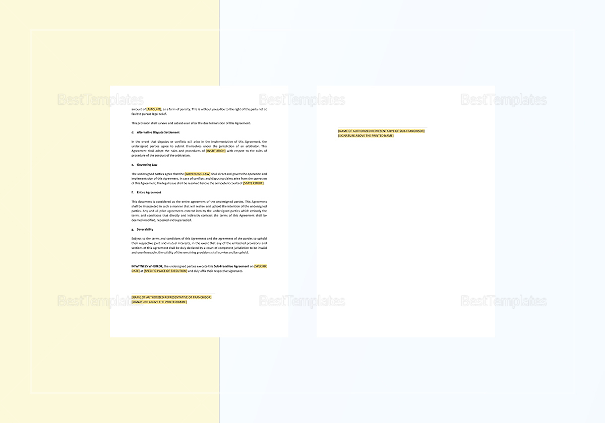Fully Editable Sub Franchise Agreement Template