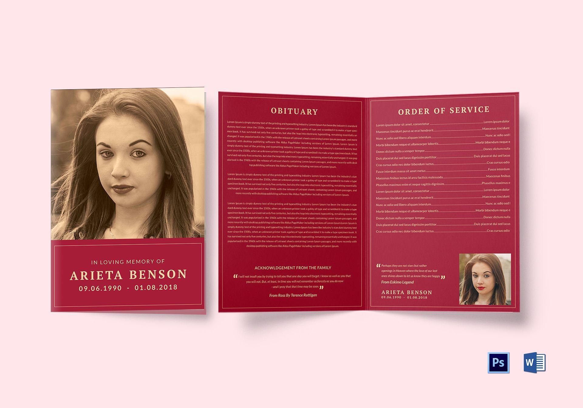 Funeral Service Bi Fold Brochure Template In Adobe Photoshop