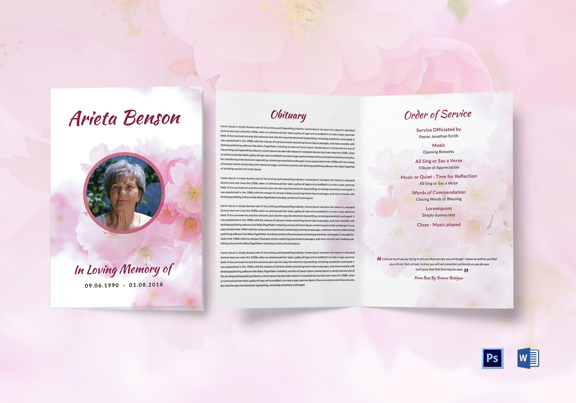 Funeral Bi-fold Brochure Template