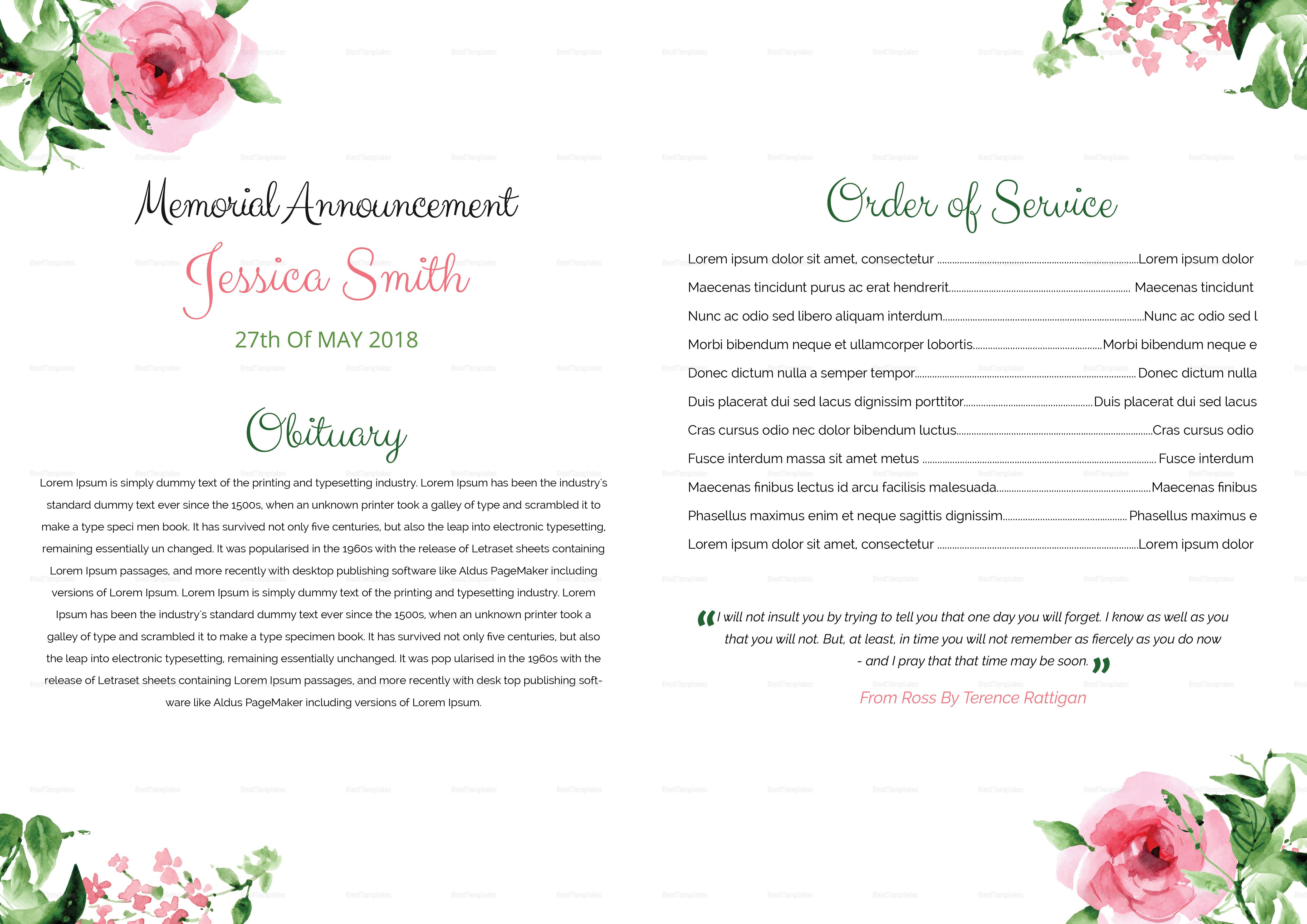 Printable Bi-Fold Brochure Funeral