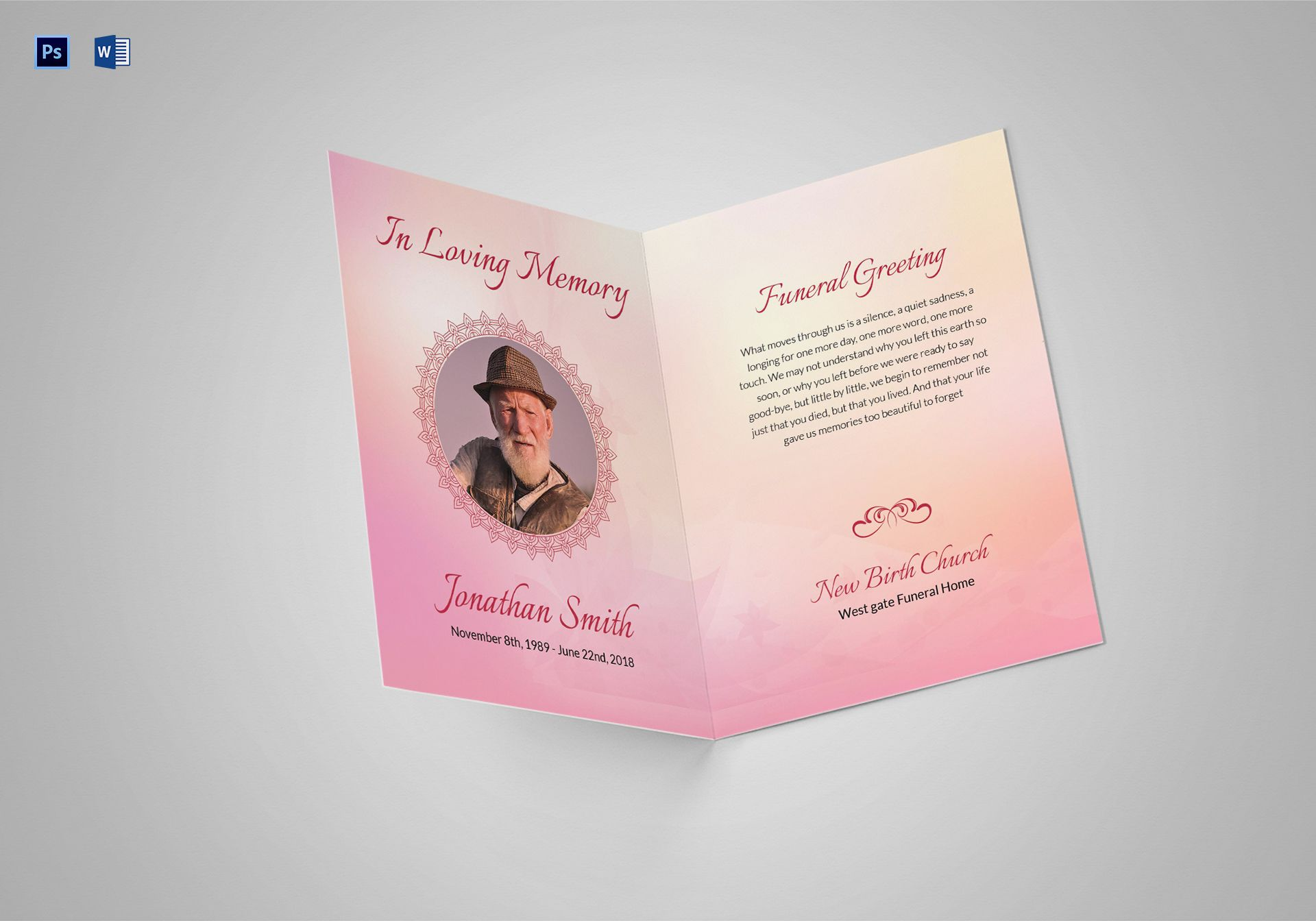 Funeral Greeting Card Template