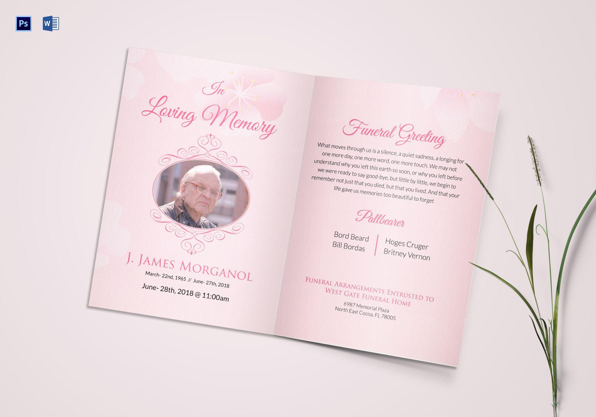 Editable Funeral Greeting Card