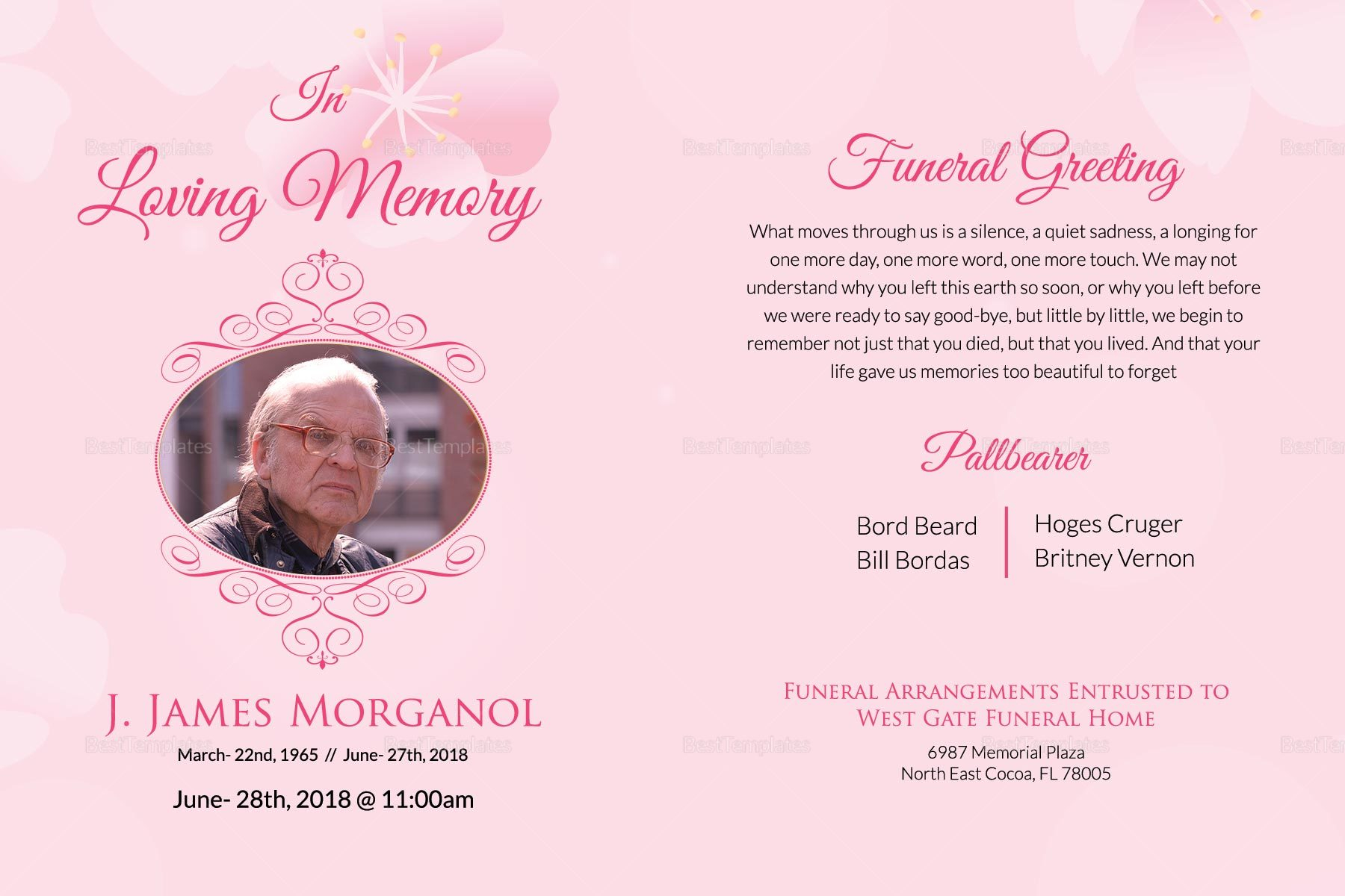 Editable Funeral Greeting Card Template