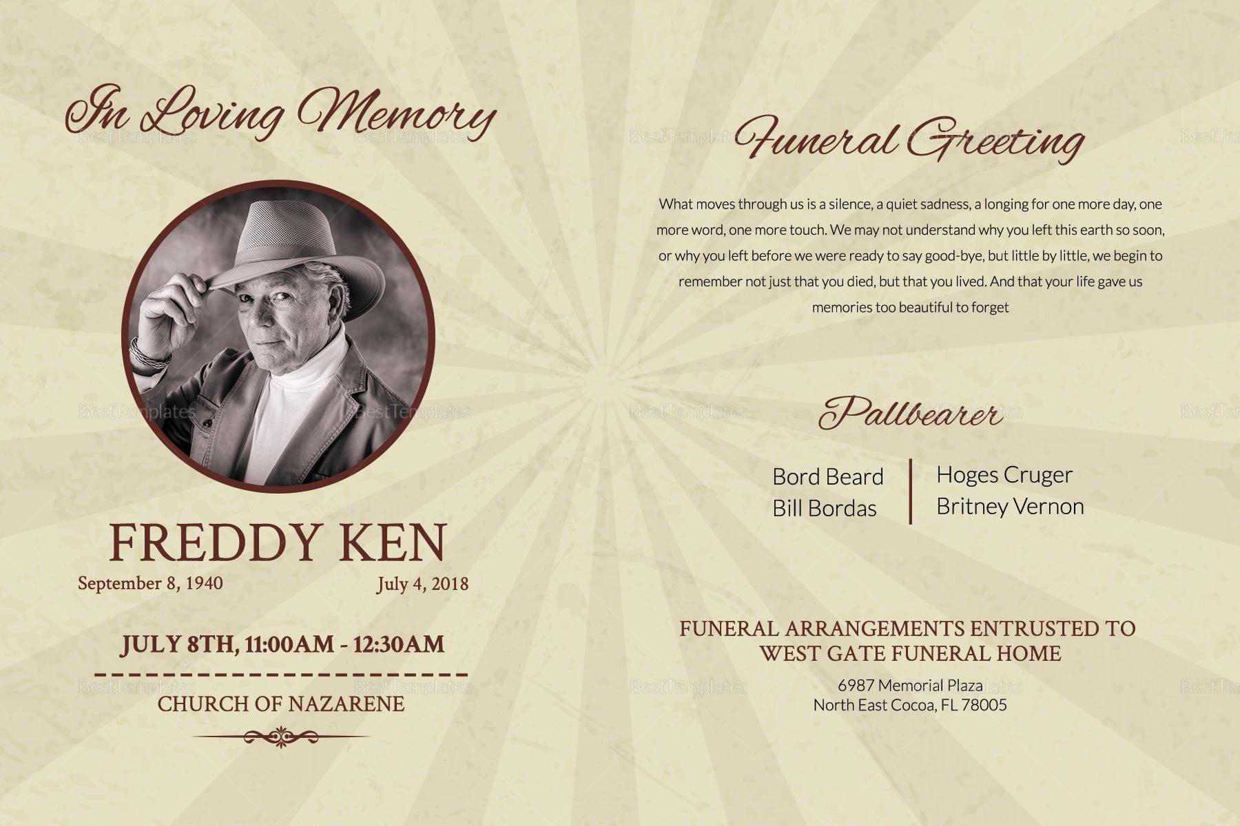 Printable Funeral Greeting Card