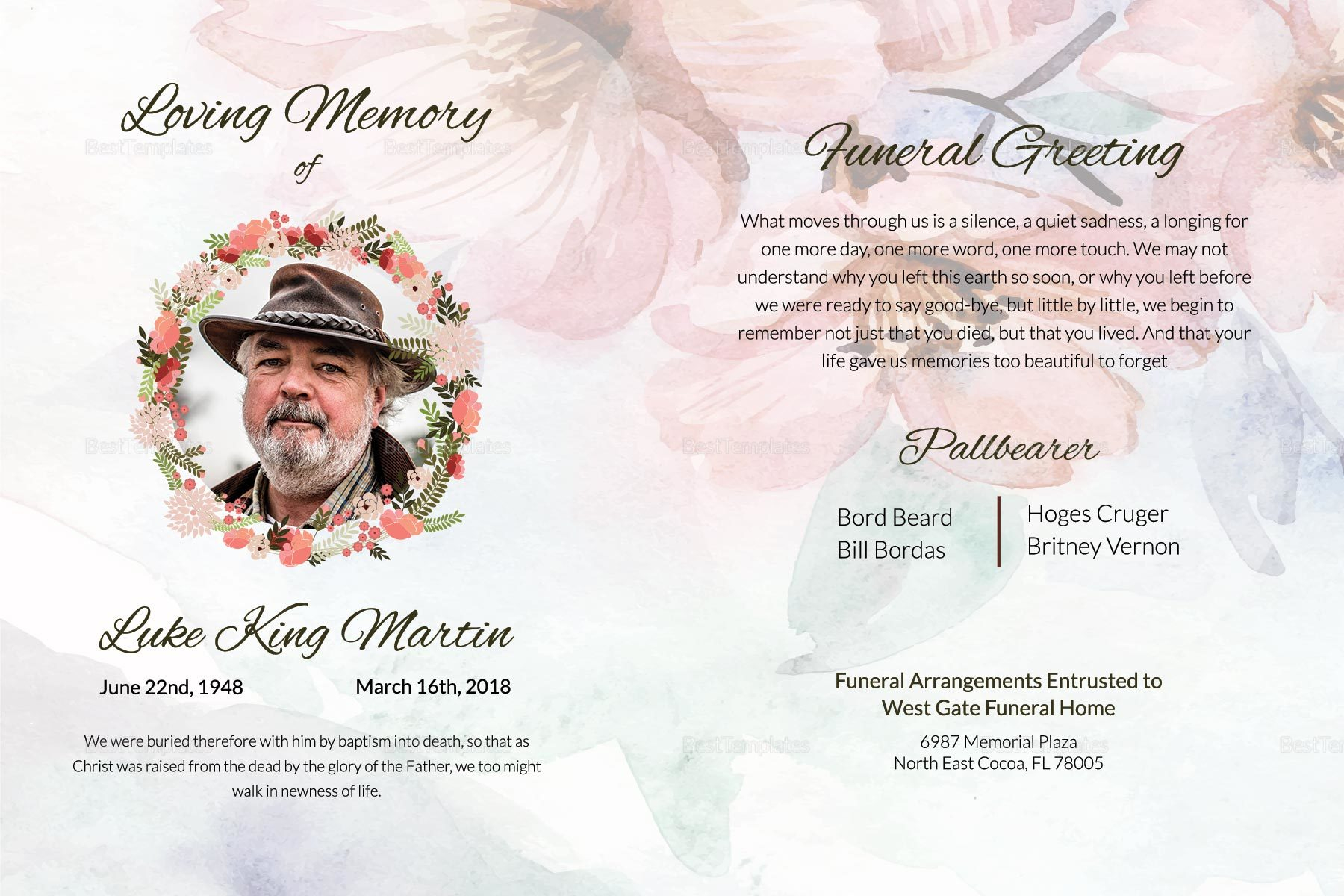 Funeral Announcement Greeting Card