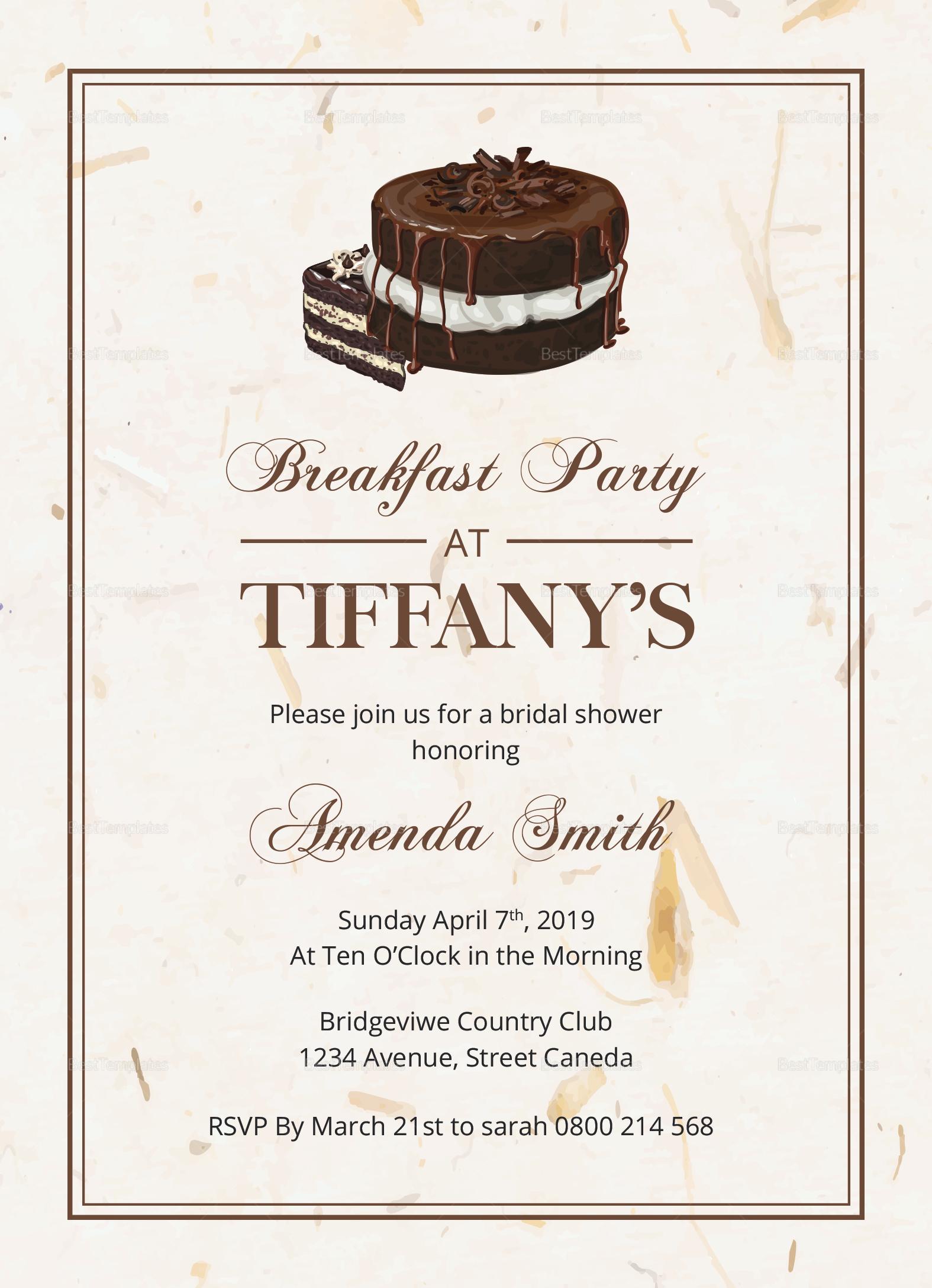 Bridal Shower Breakfast Invitation Design Template