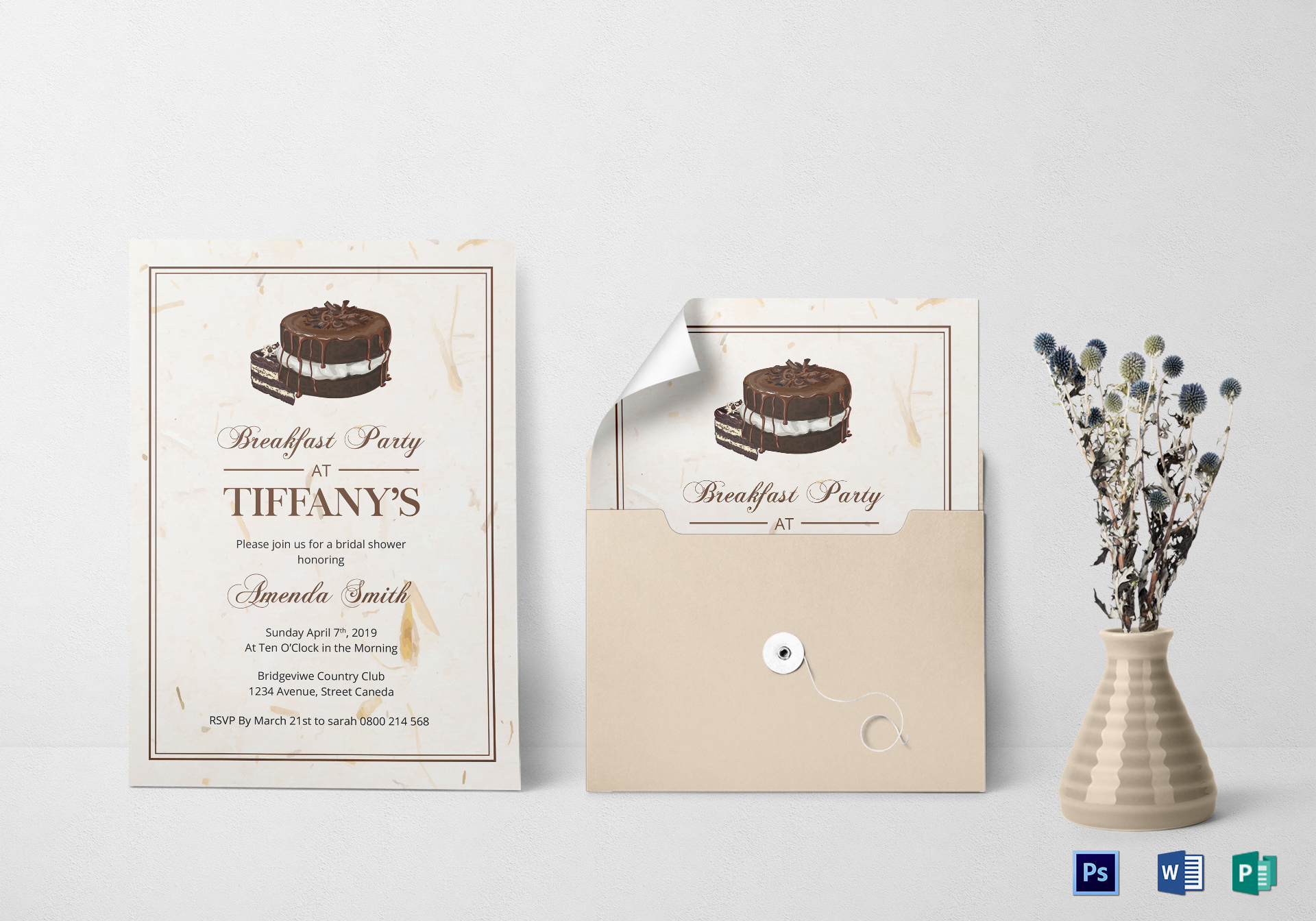 bridal shower breakfast invitation design template in word psd