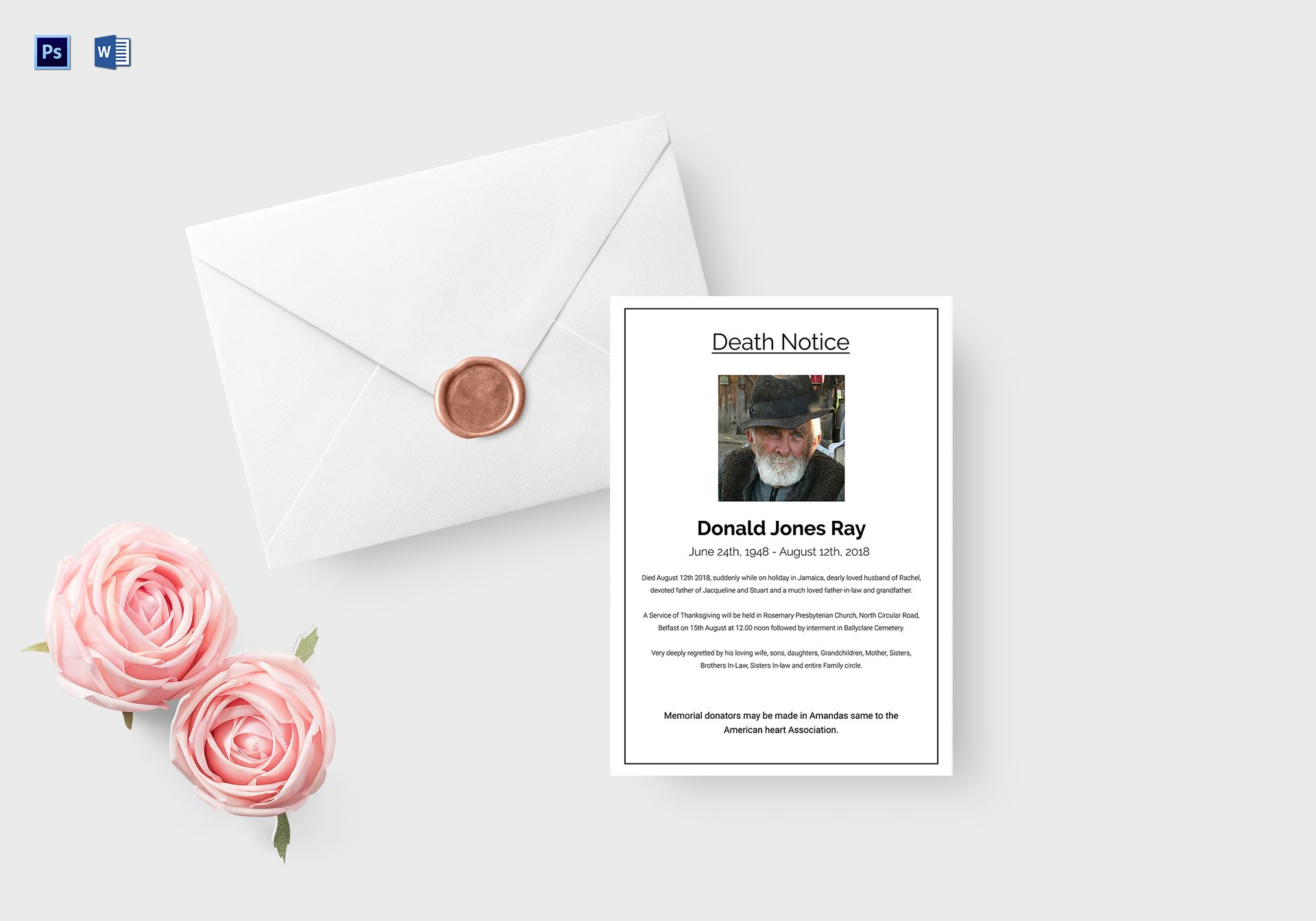 Eulogy Death Notice Template
