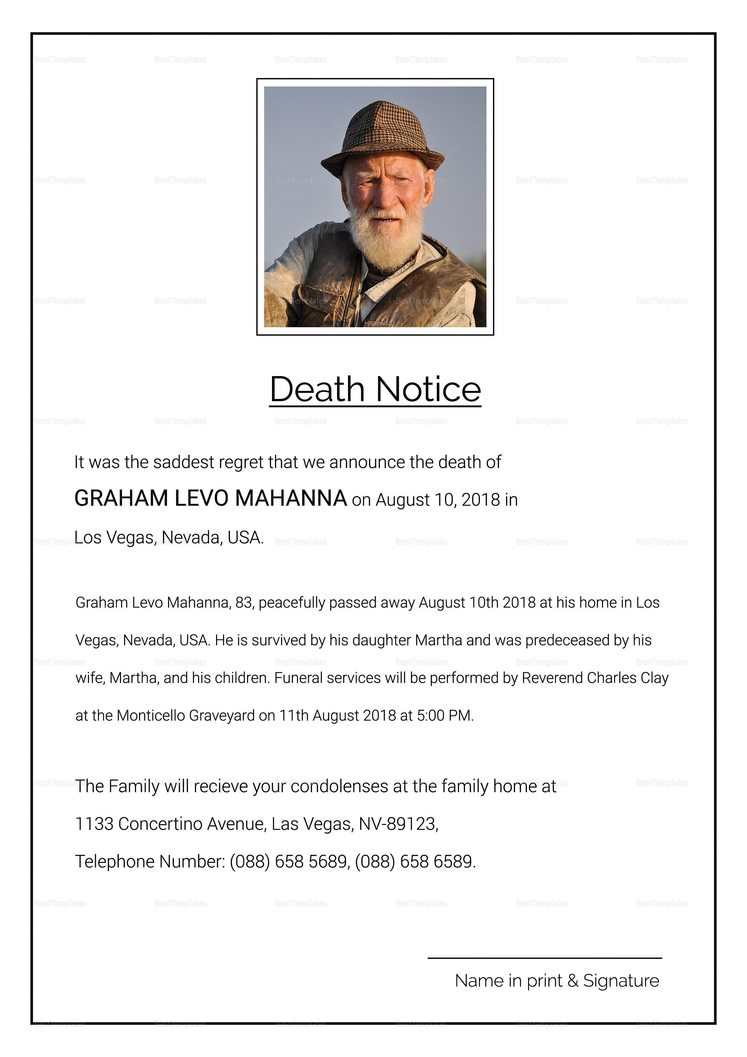 Premium Death Notice