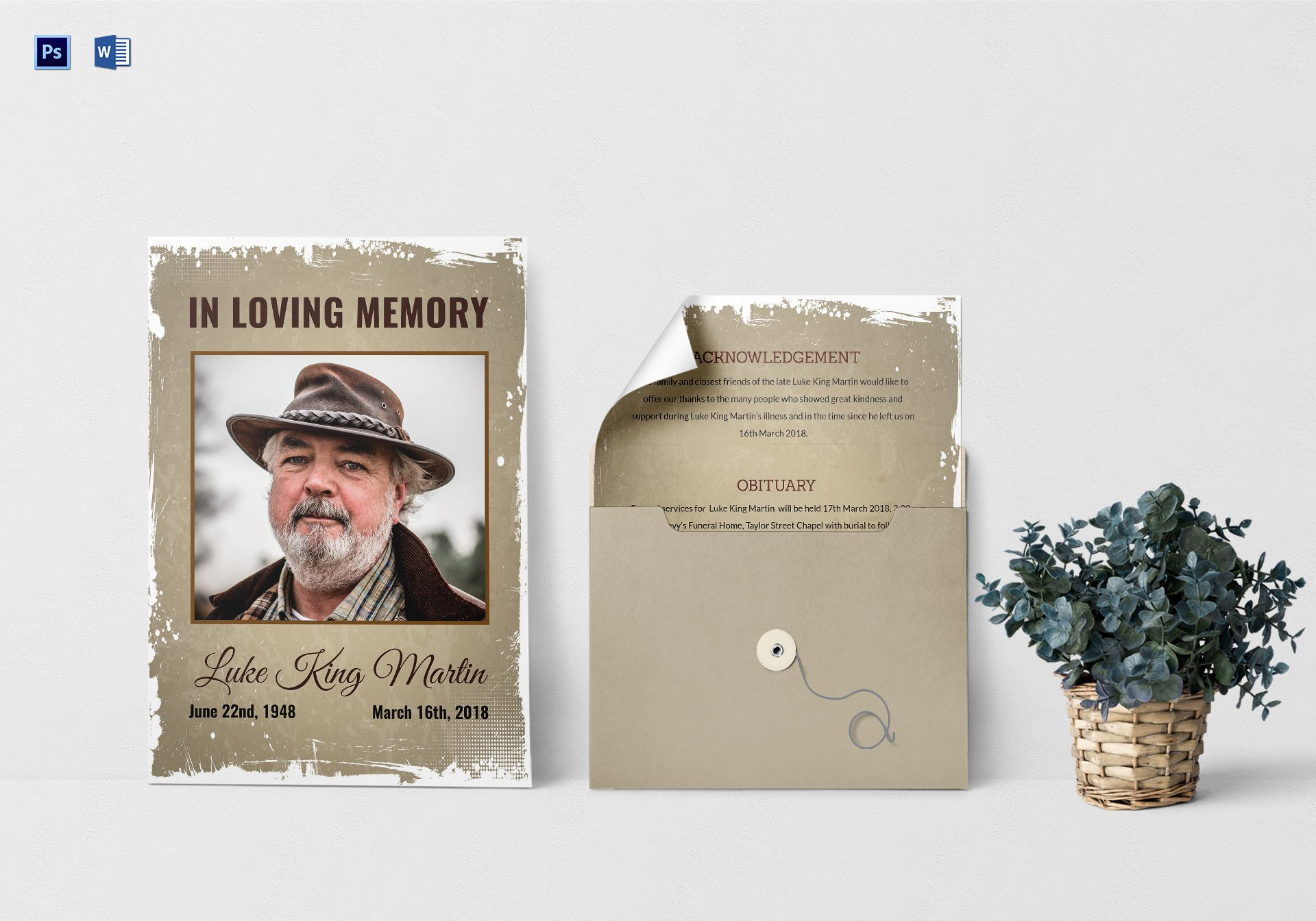Loving Memory Death Announcement Template