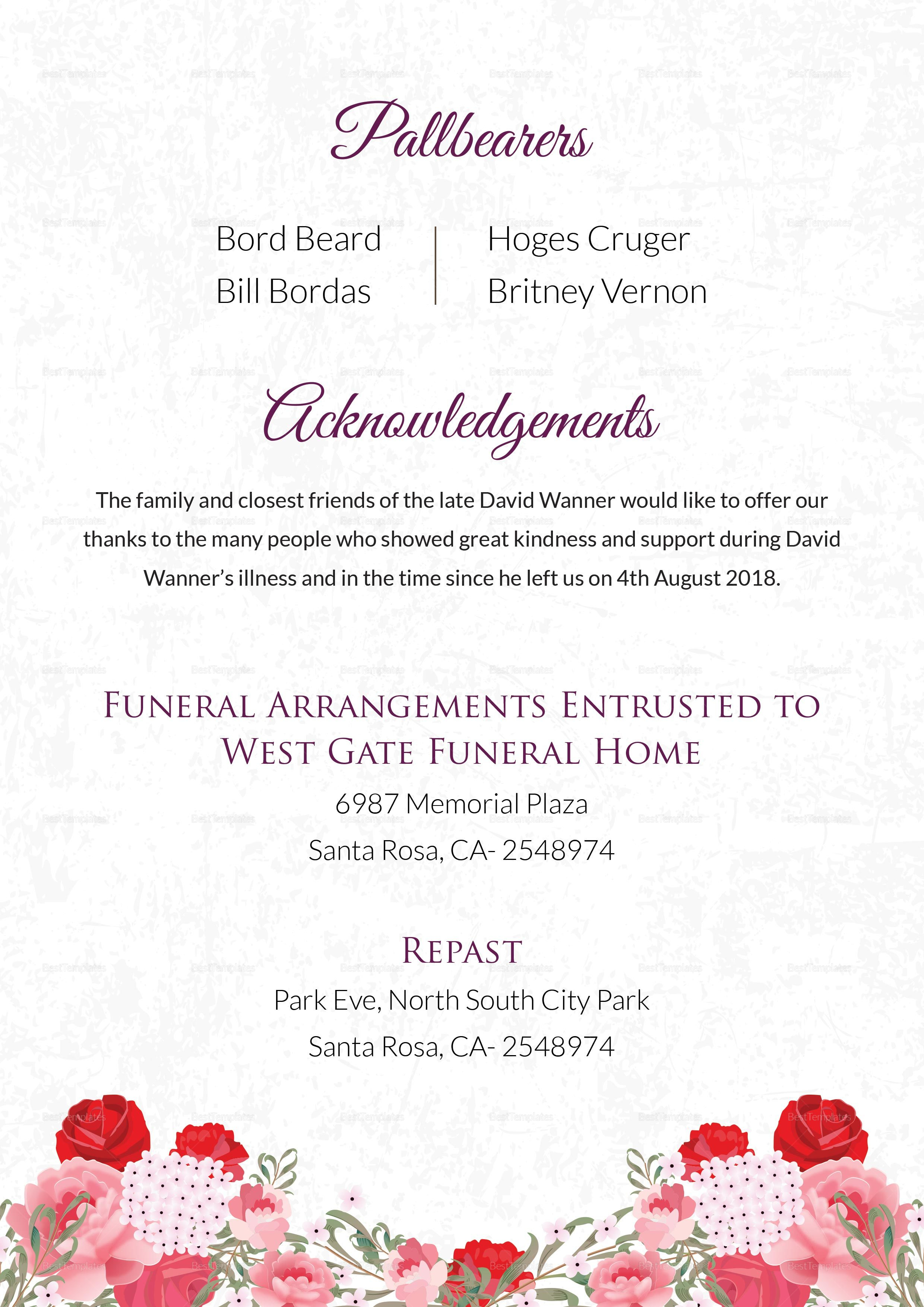 Printable Memorable Death Announcement