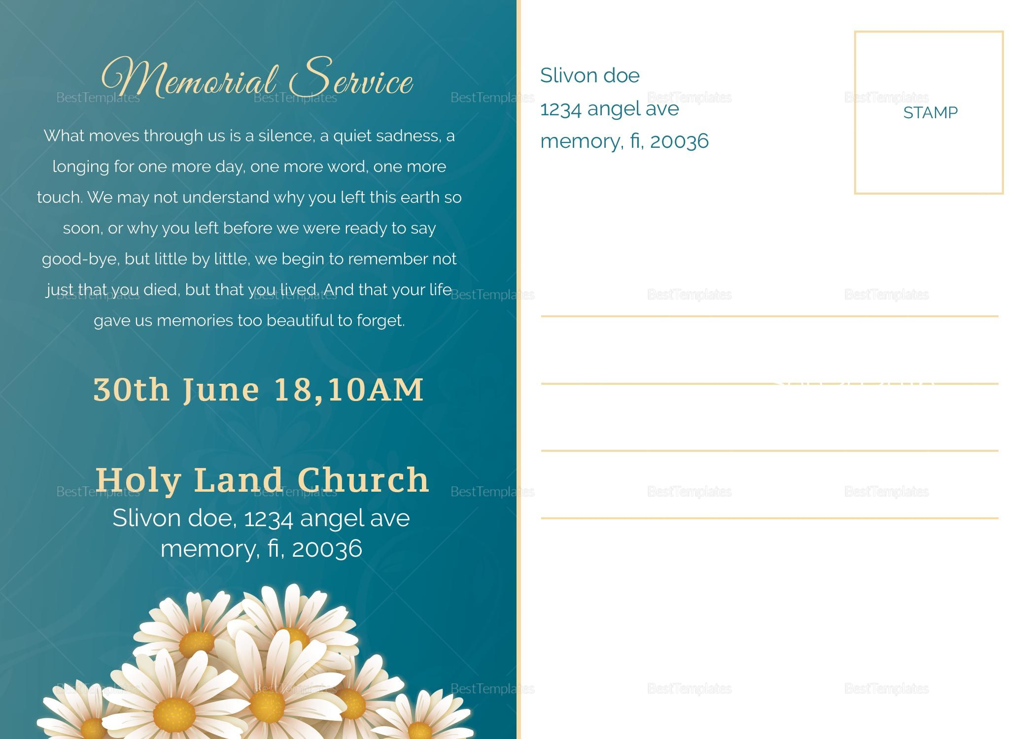 Printable Premium Funeral Announcement
