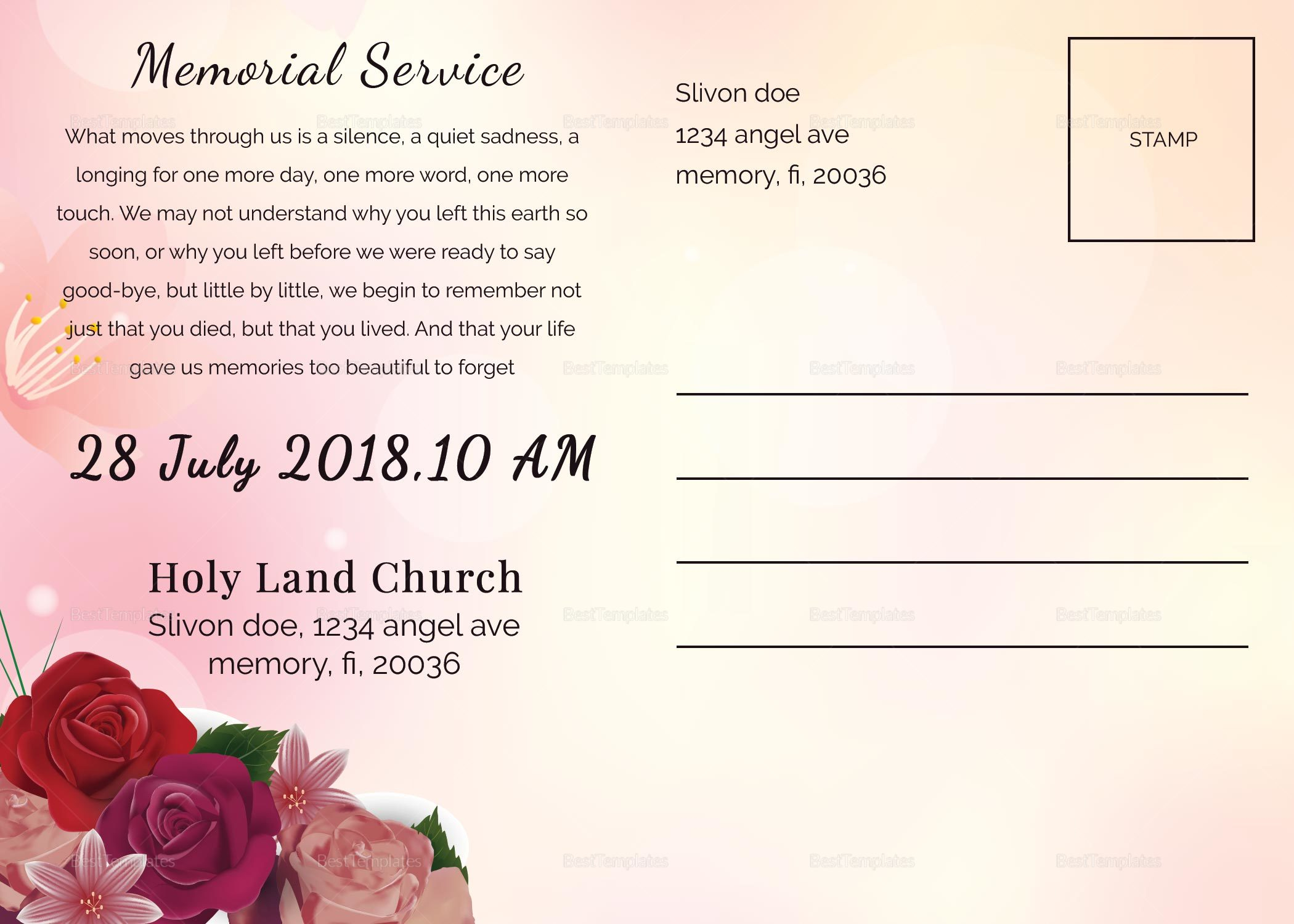 Printable Funeral Death Announcement