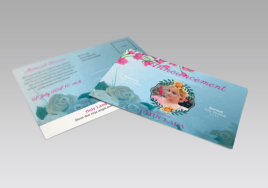 Floral Funeral Announcement Template