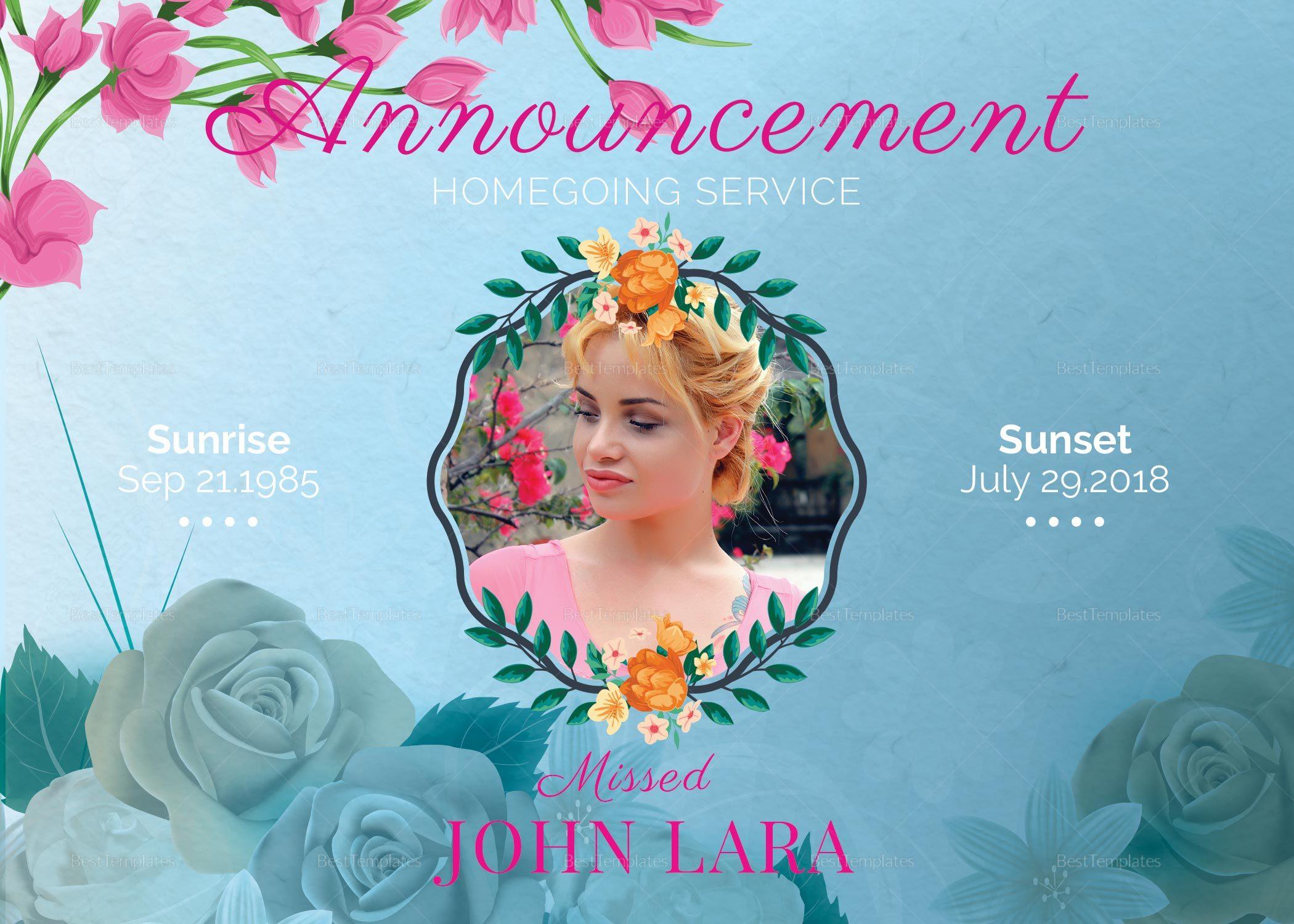 Floral Funeral Announcement