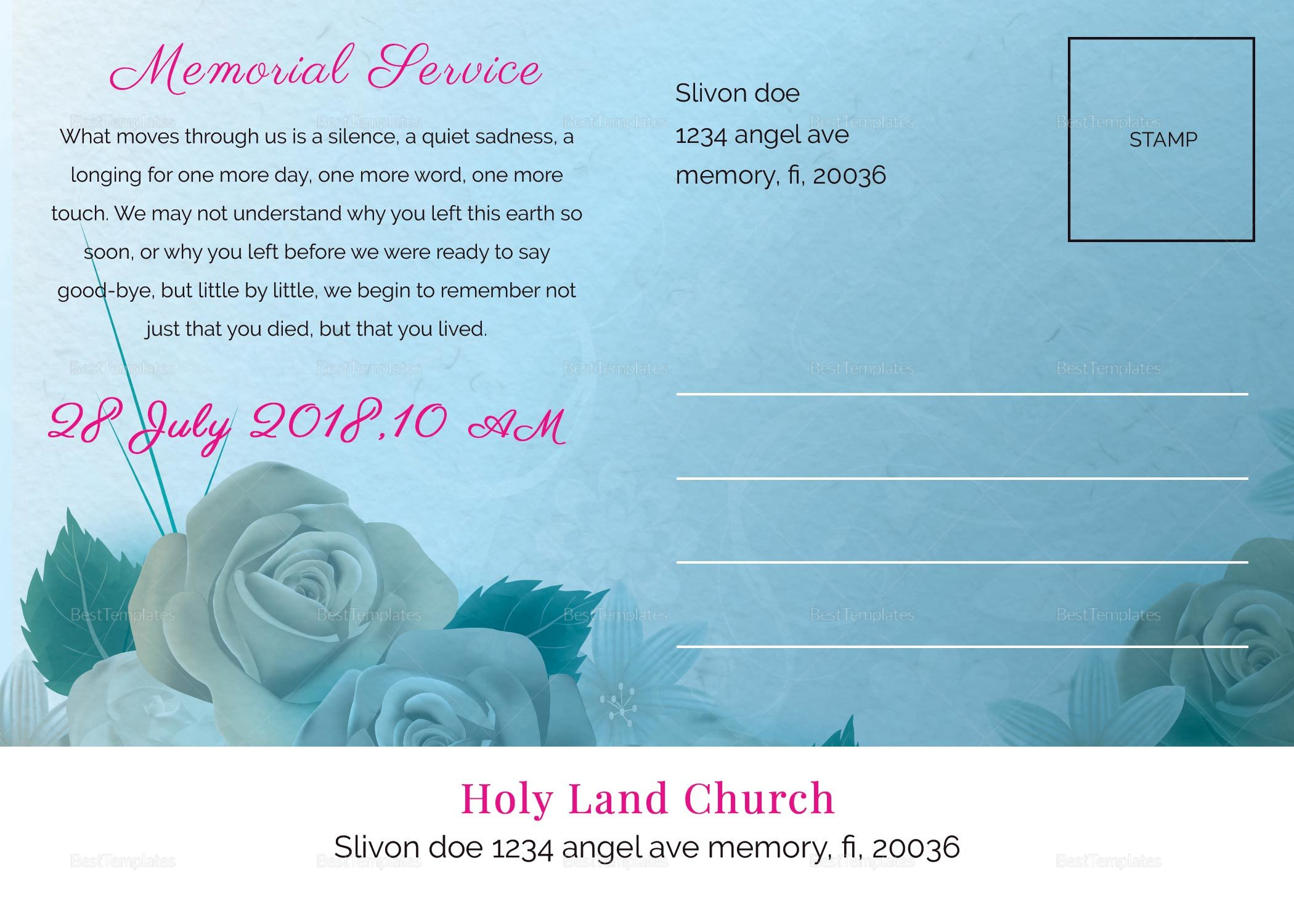 Printable Floral Funeral Announcement