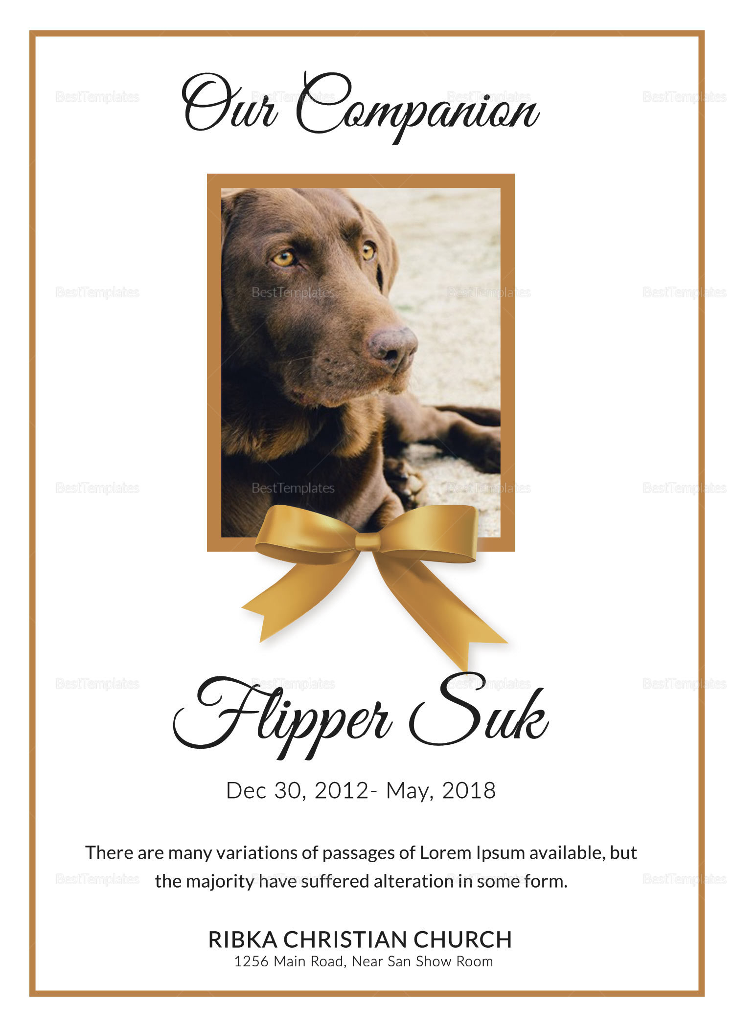 Obituary Pet Memorial Card