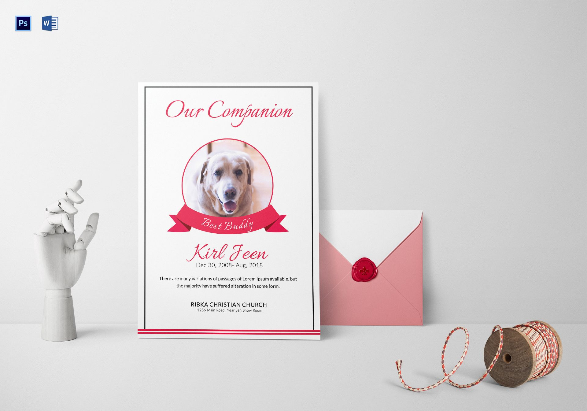 Companion Pet Memorial Card