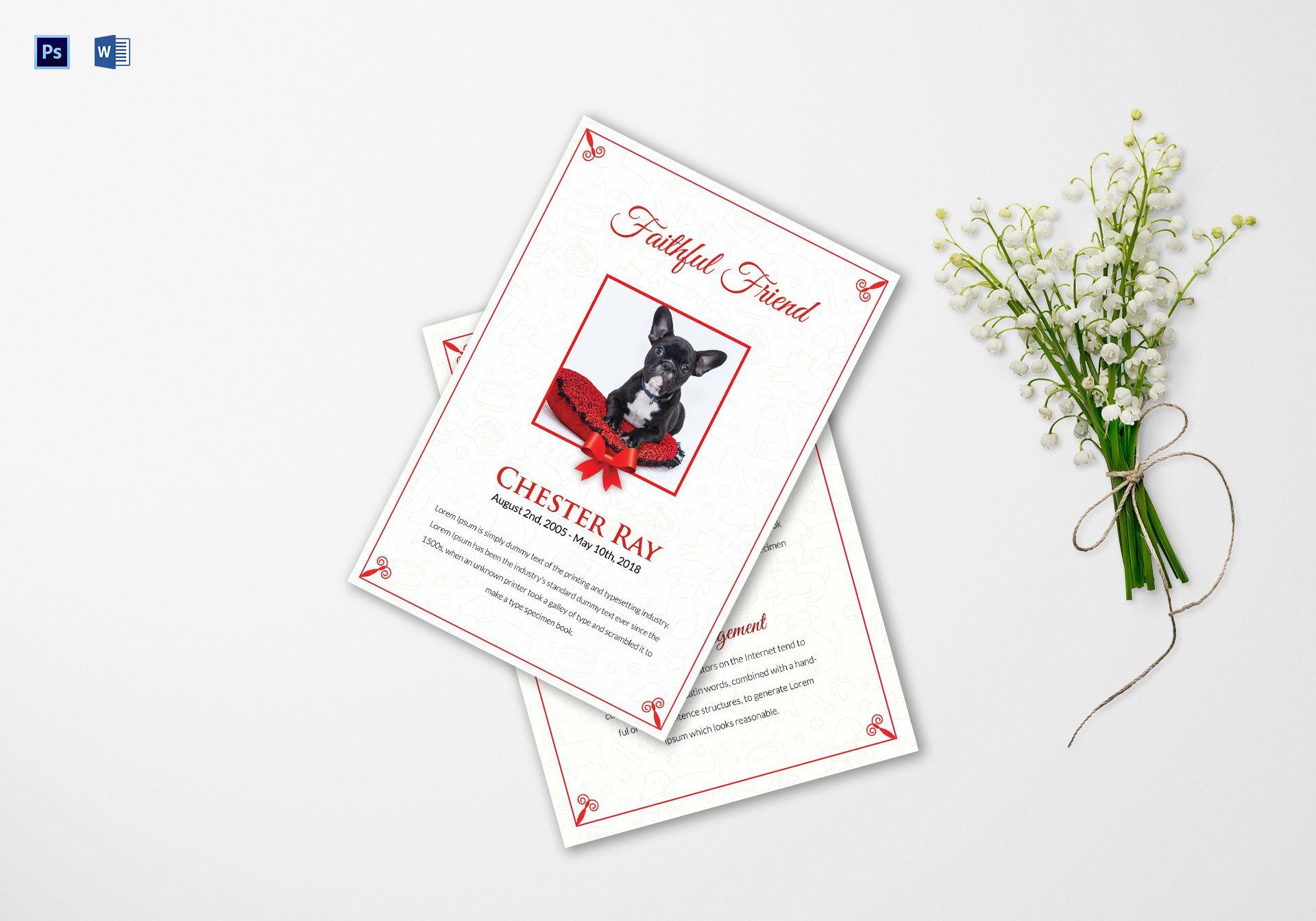 Pet Funeral Program Template