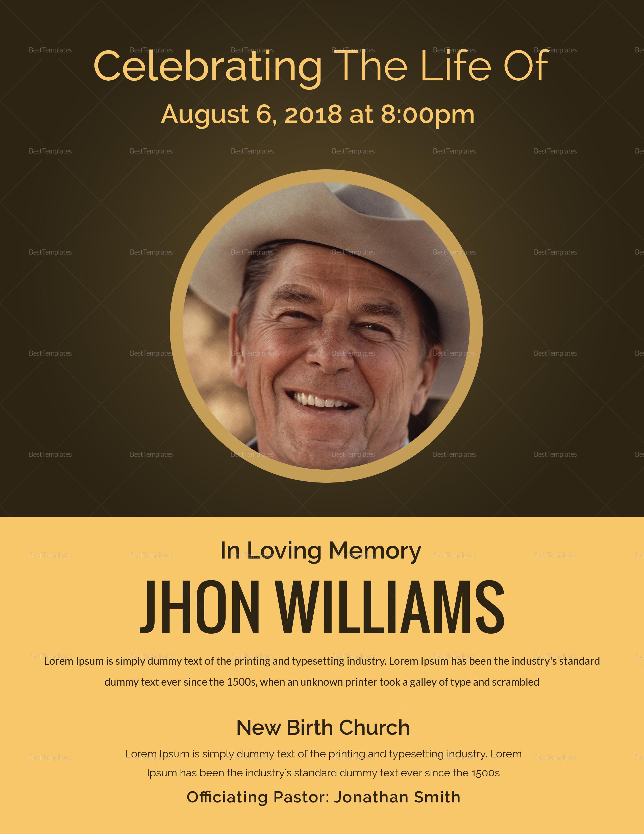Editable Funeral Flyer