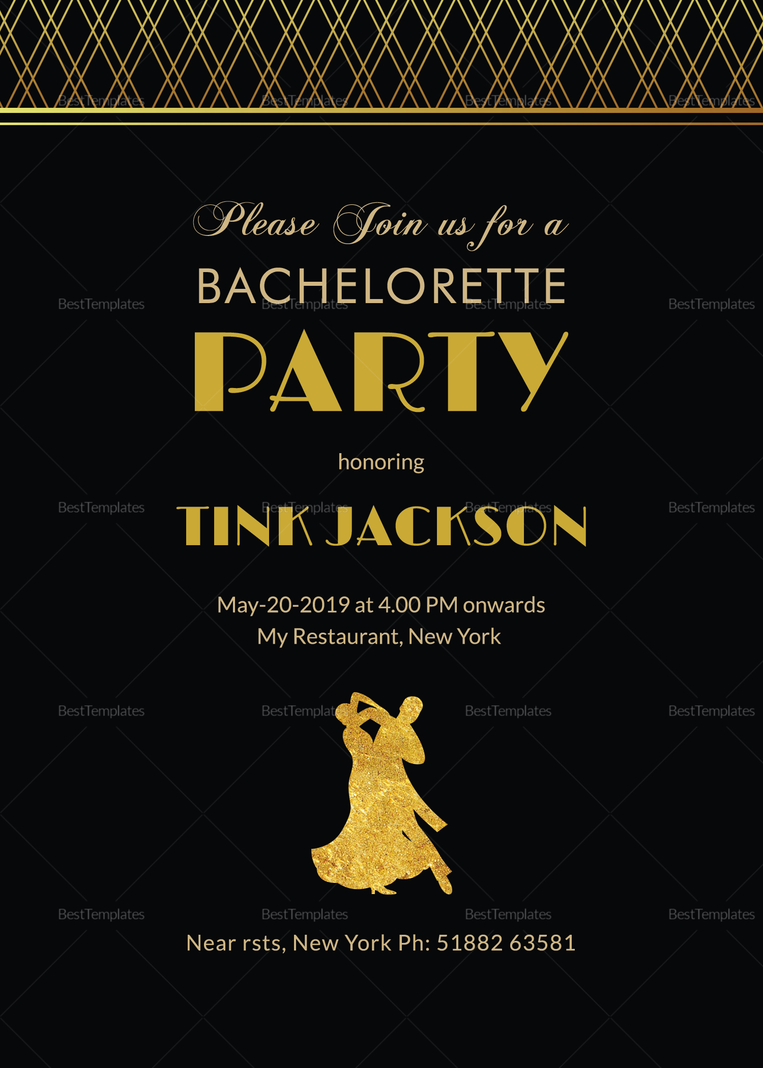 Black & Gold Bachelorette Party Invitation Design Template