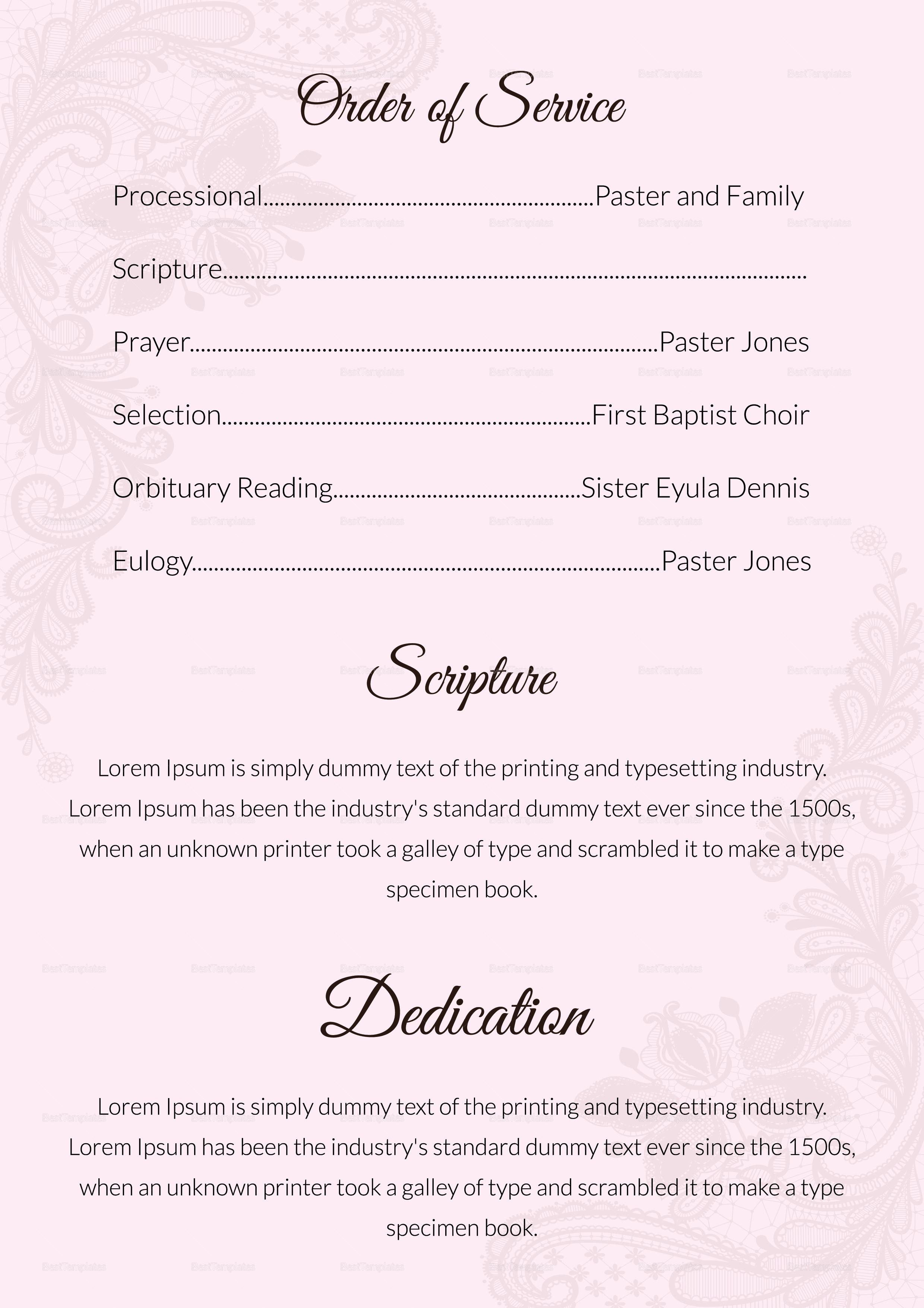 Editable Funeral Service Program