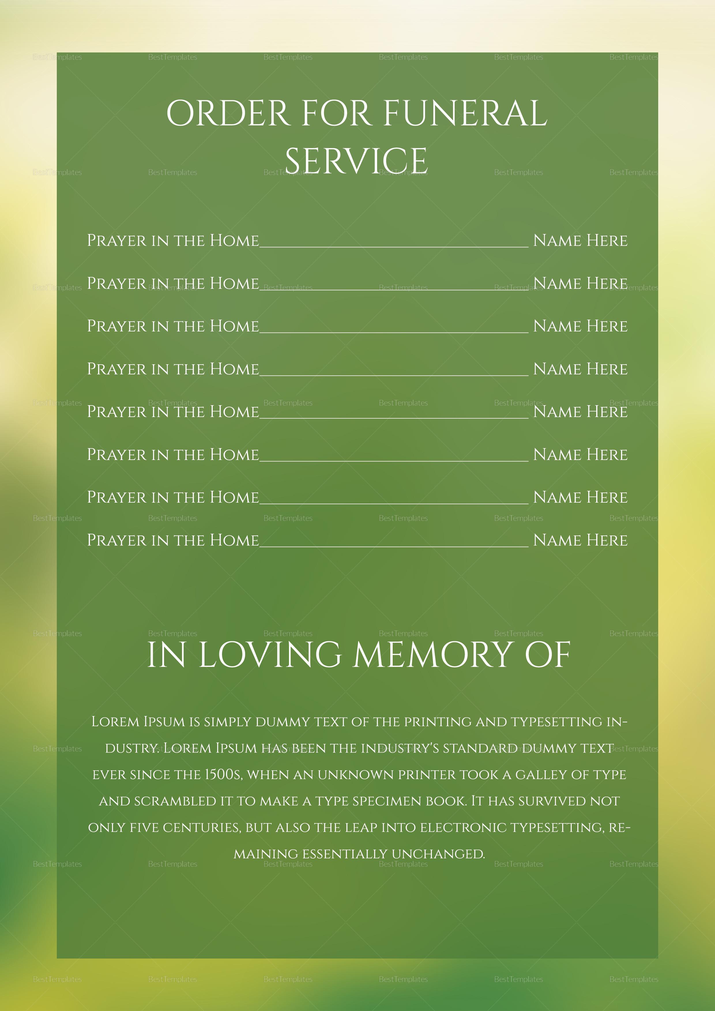 Editable Premium Funeral Program