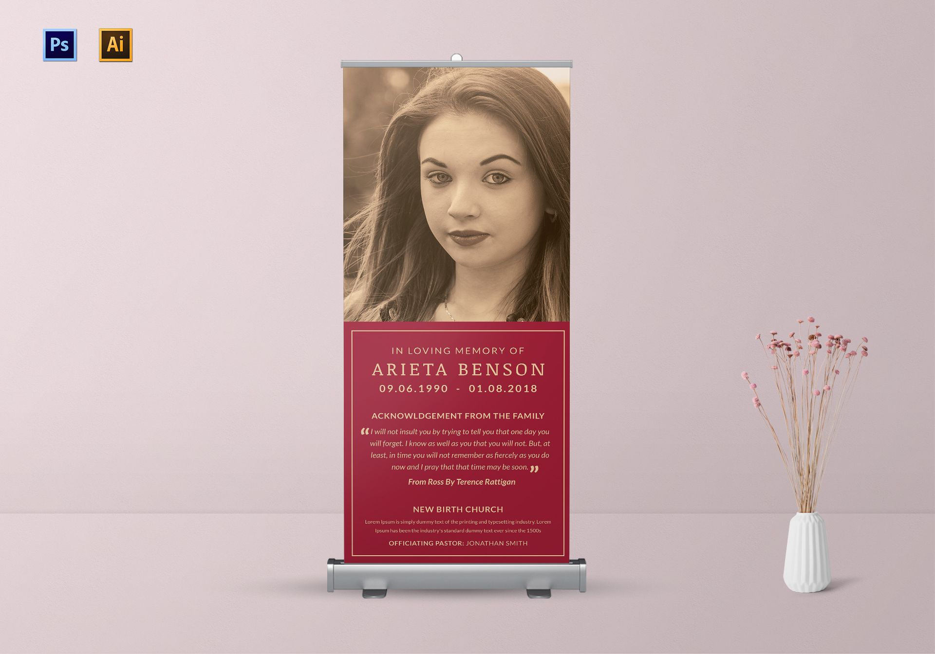 Elegant Funeral Rollup Banner Template