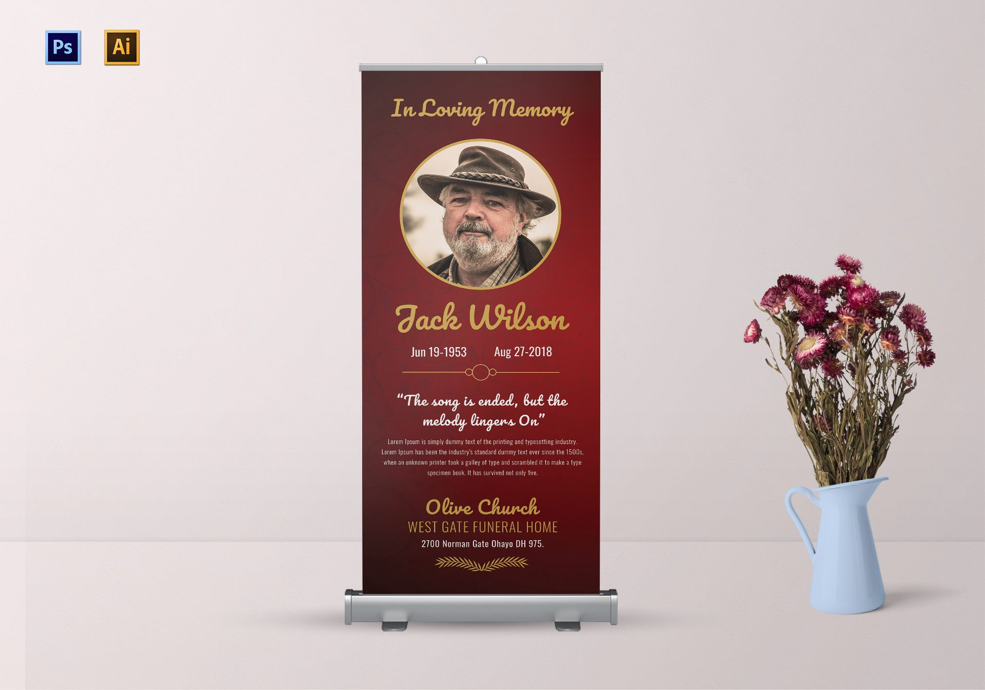 Funeral Invitation Roll-up Banner