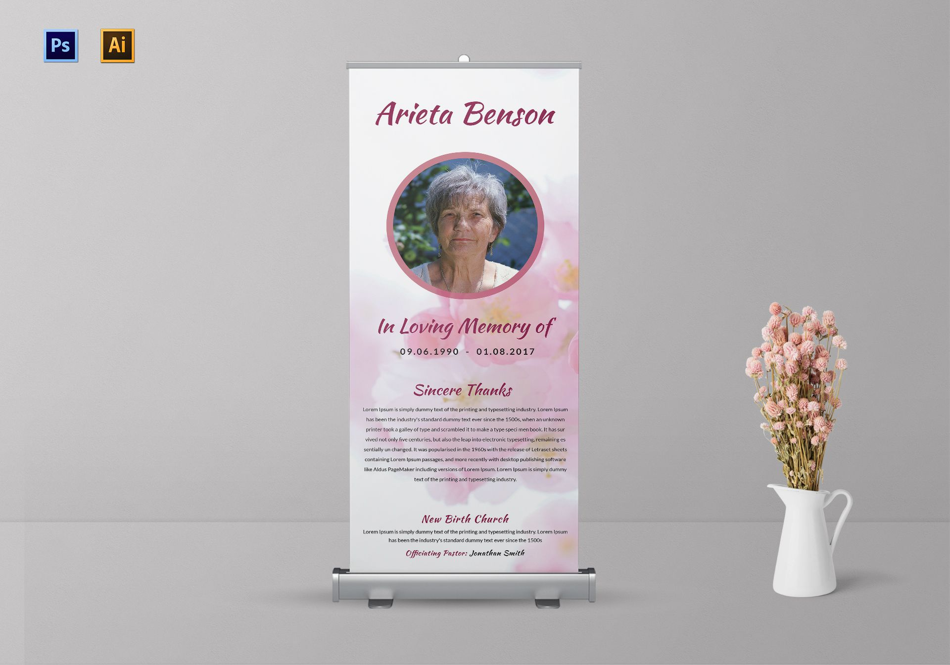 Loving Memory Funeral Roll-up Banner