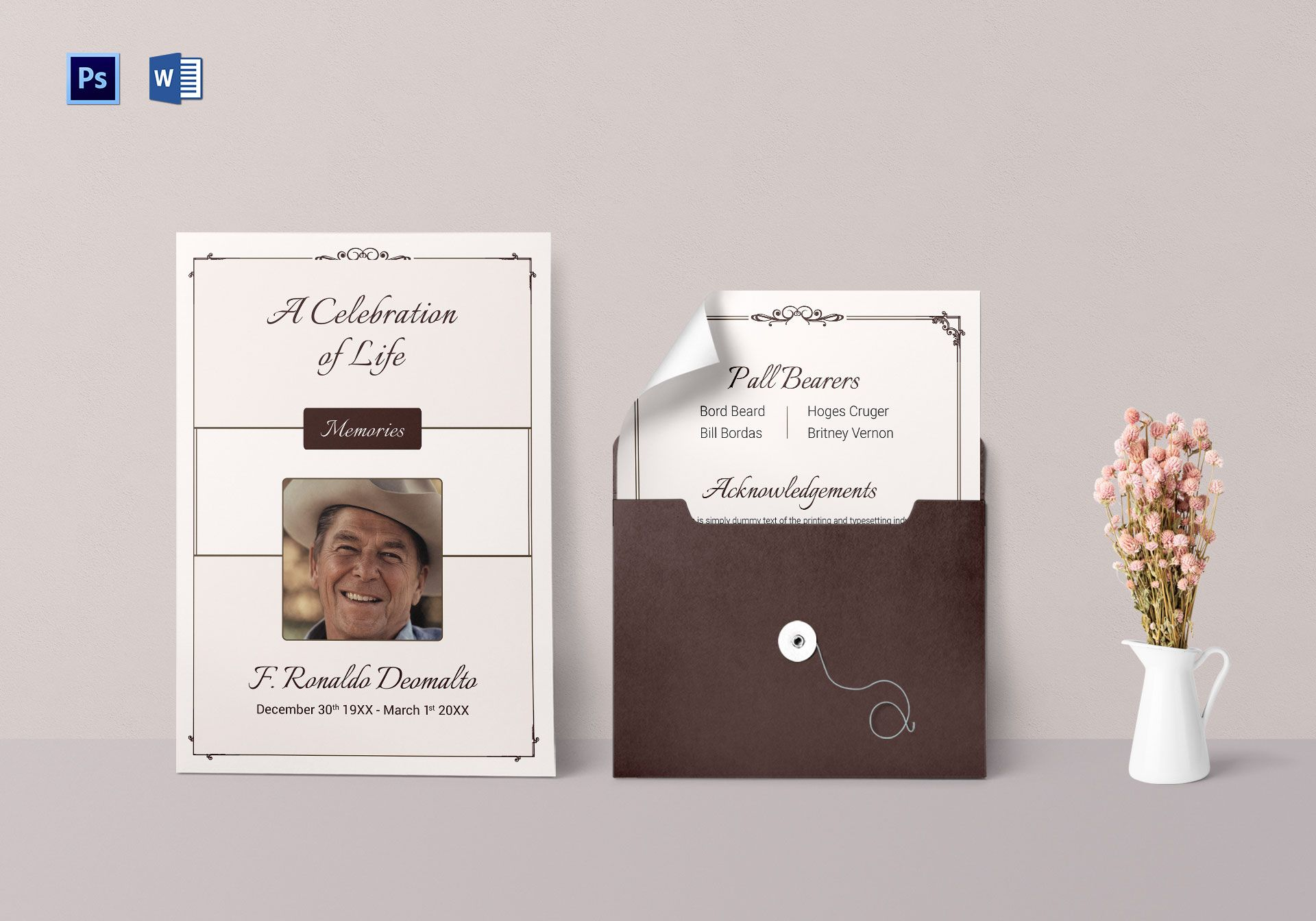Funeral Invitation Template for Celebrities