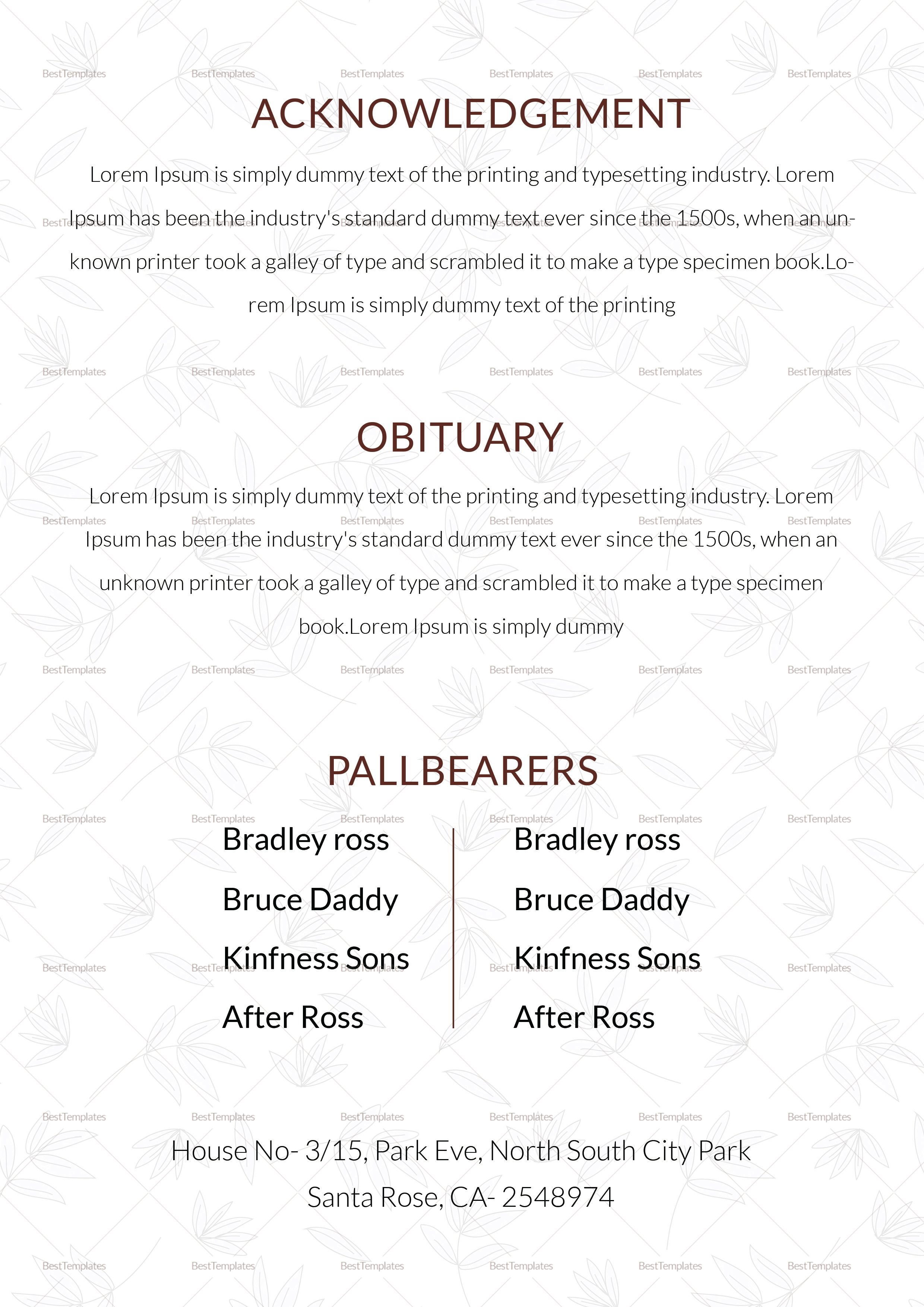 Obituary Funeral Template