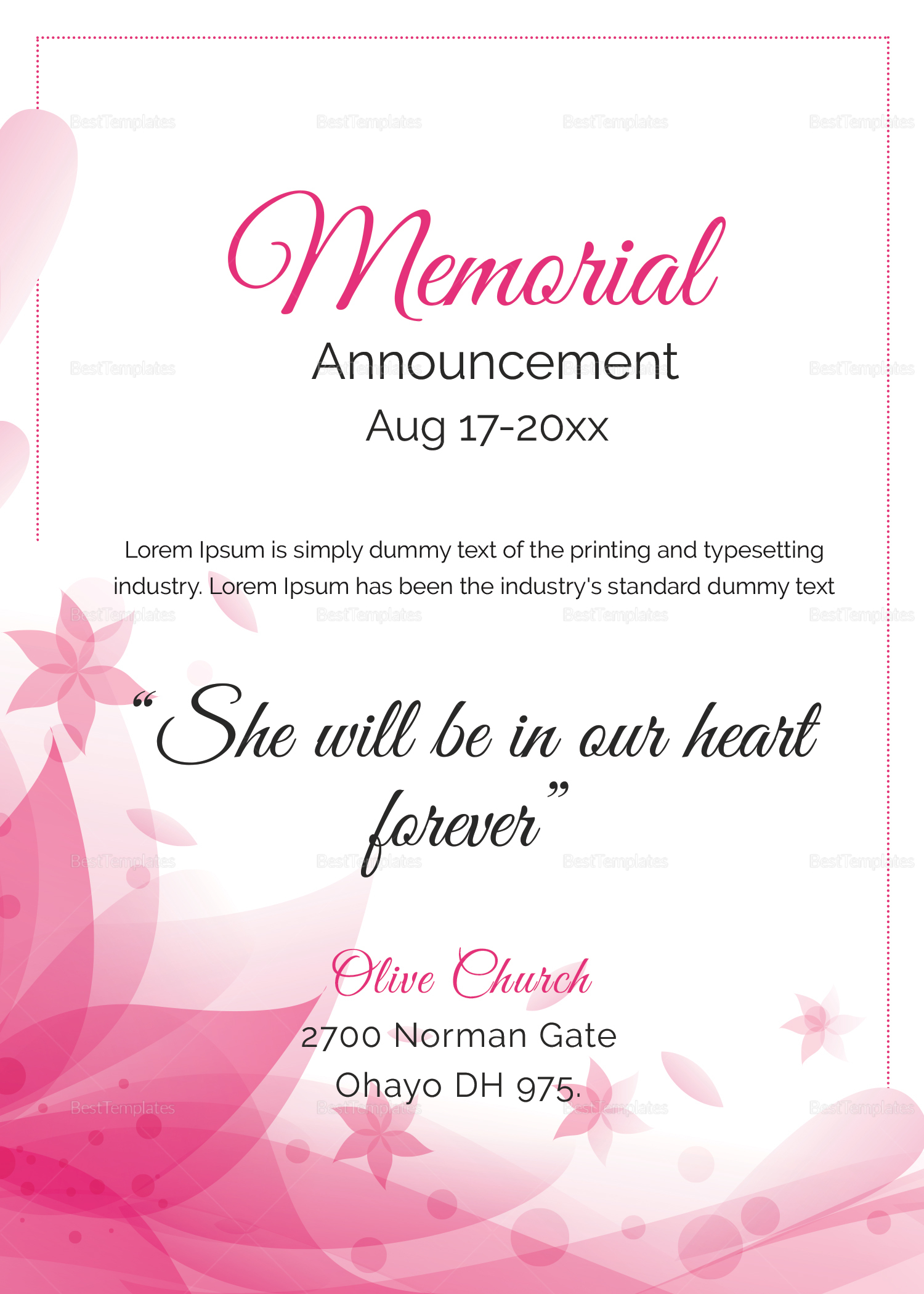 Traditional Funeral Announcement Template