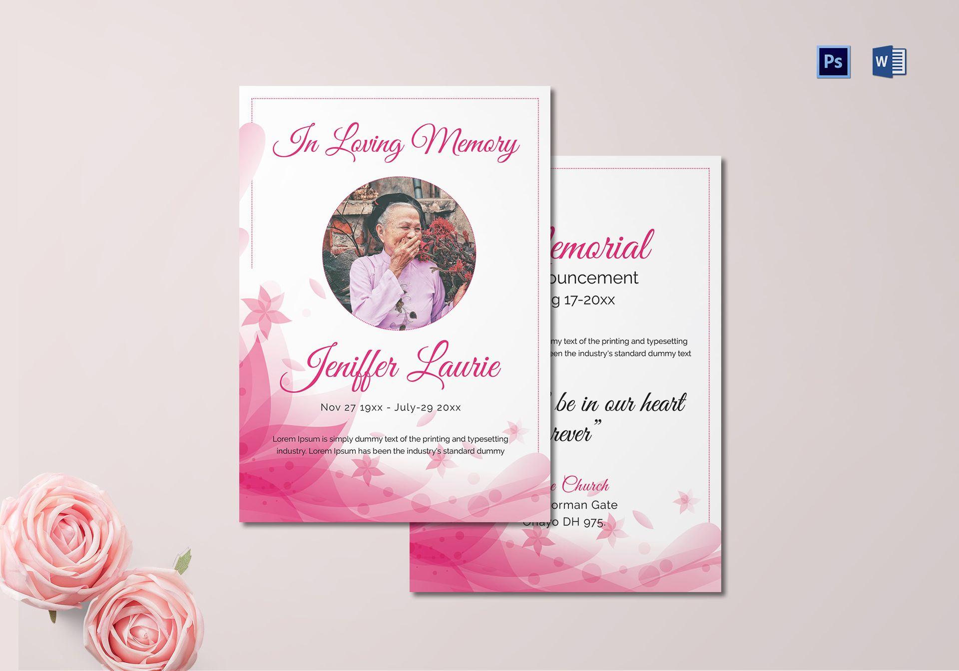 Traditional Funeral Announcement Template for Mother